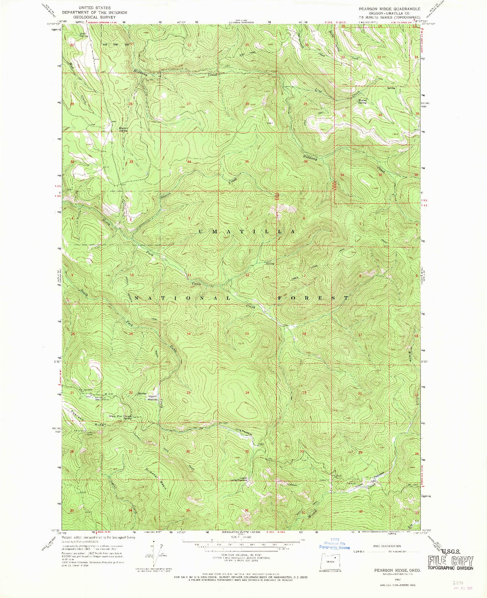 USGS 1:24000-SCALE QUADRANGLE FOR PEARSON RIDGE, OR 1967
