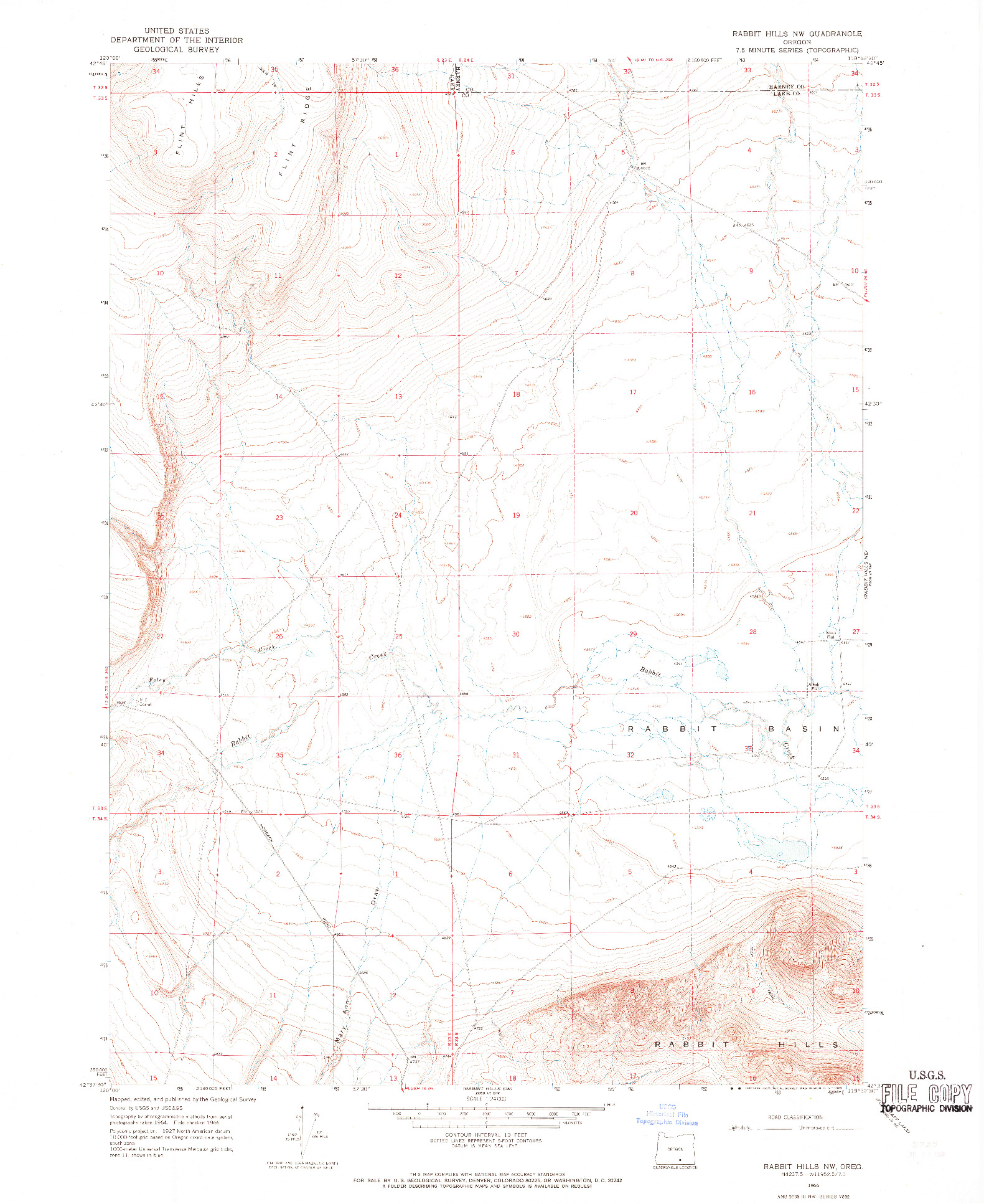 USGS 1:24000-SCALE QUADRANGLE FOR RABBIT HILLS NW, OR 1966