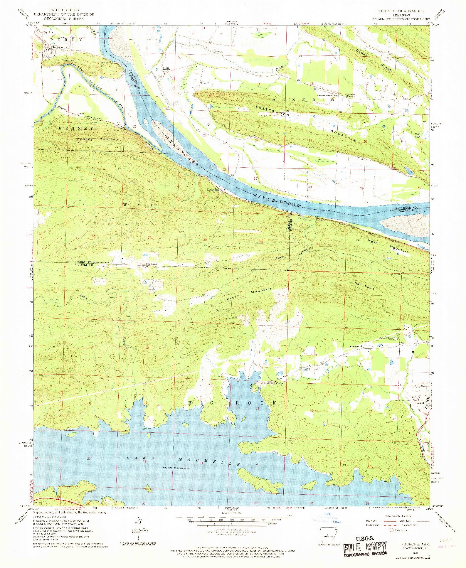 USGS 1:24000-SCALE QUADRANGLE FOR FOURCHE, AR 1961