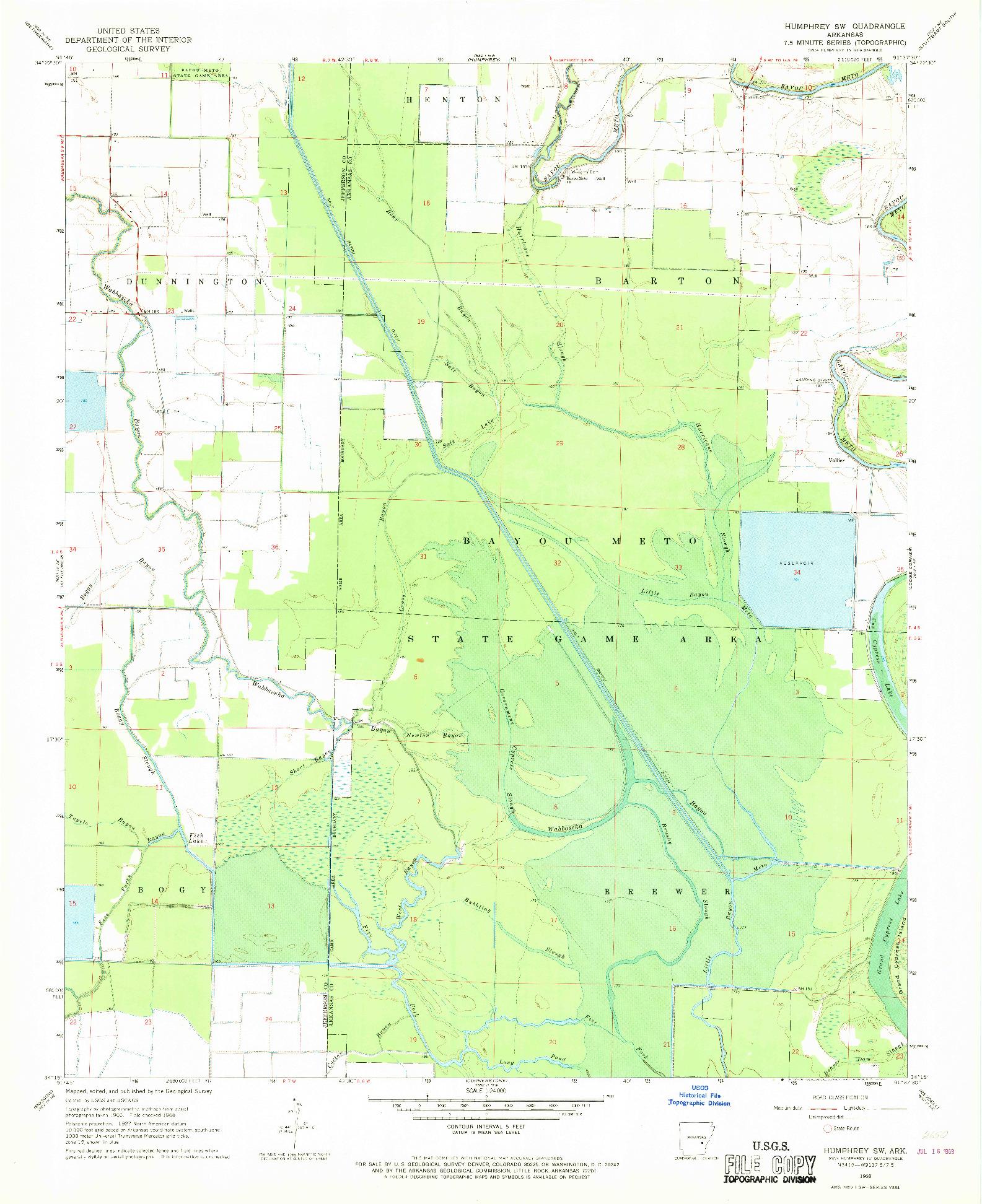 USGS 1:24000-SCALE QUADRANGLE FOR HUMPHREY SW, AR 1968
