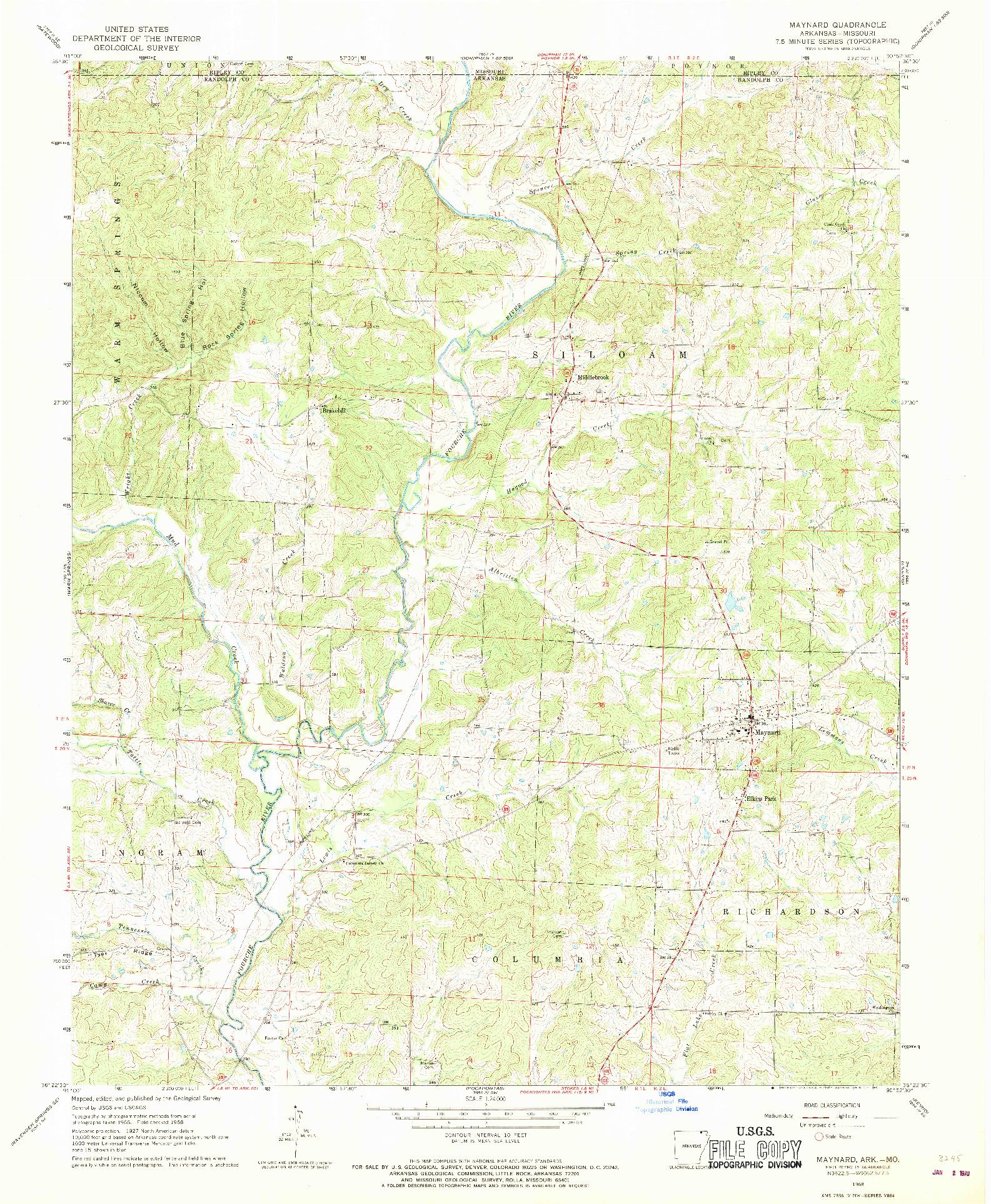 USGS 1:24000-SCALE QUADRANGLE FOR MAYNARD, AR 1968