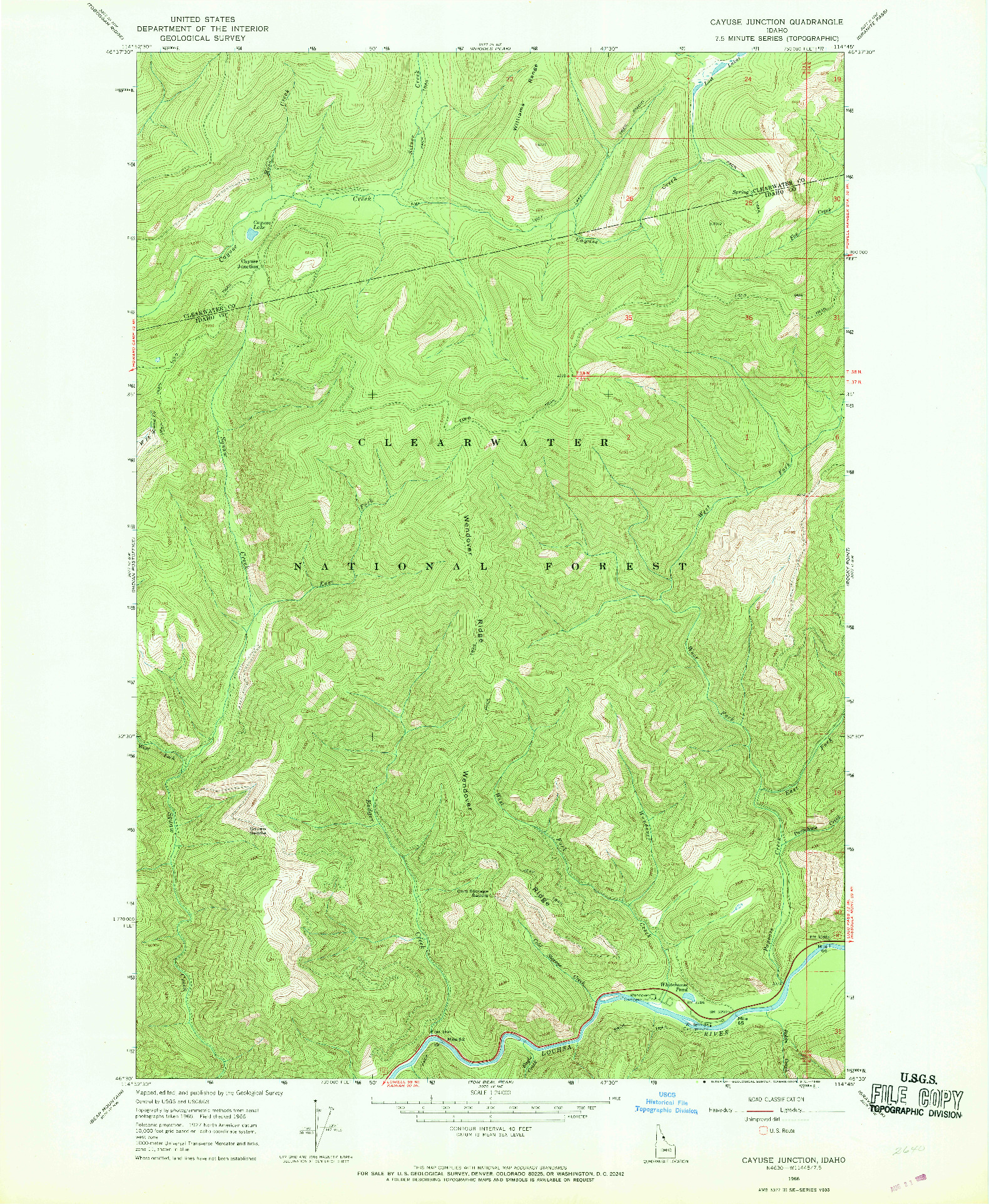 USGS 1:24000-SCALE QUADRANGLE FOR CAYUSE JUNCTION, ID 1966