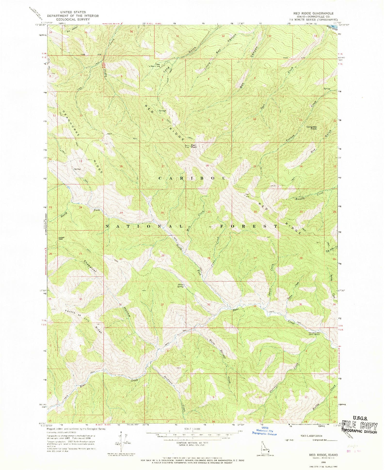 USGS 1:24000-SCALE QUADRANGLE FOR RED RIDGE, ID 1966