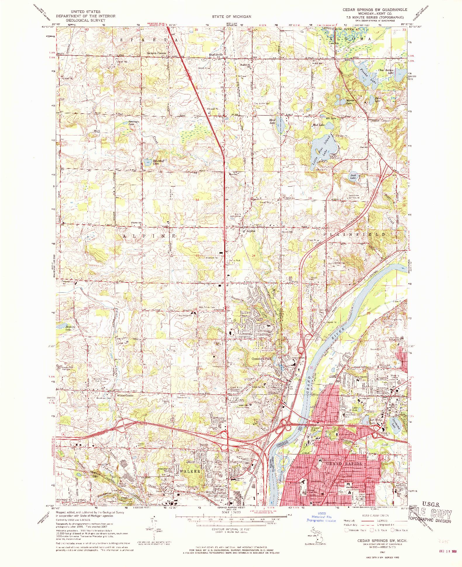USGS 1:24000-SCALE QUADRANGLE FOR CEDAR SPRINGS SW, MI 1967