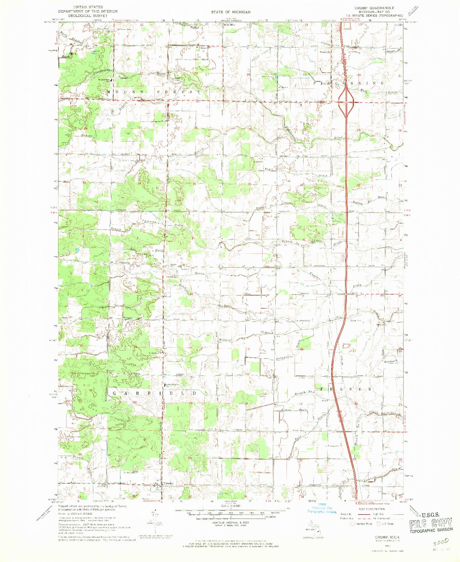 USGS 1:24000-SCALE QUADRANGLE FOR CRUMP, MI 1967