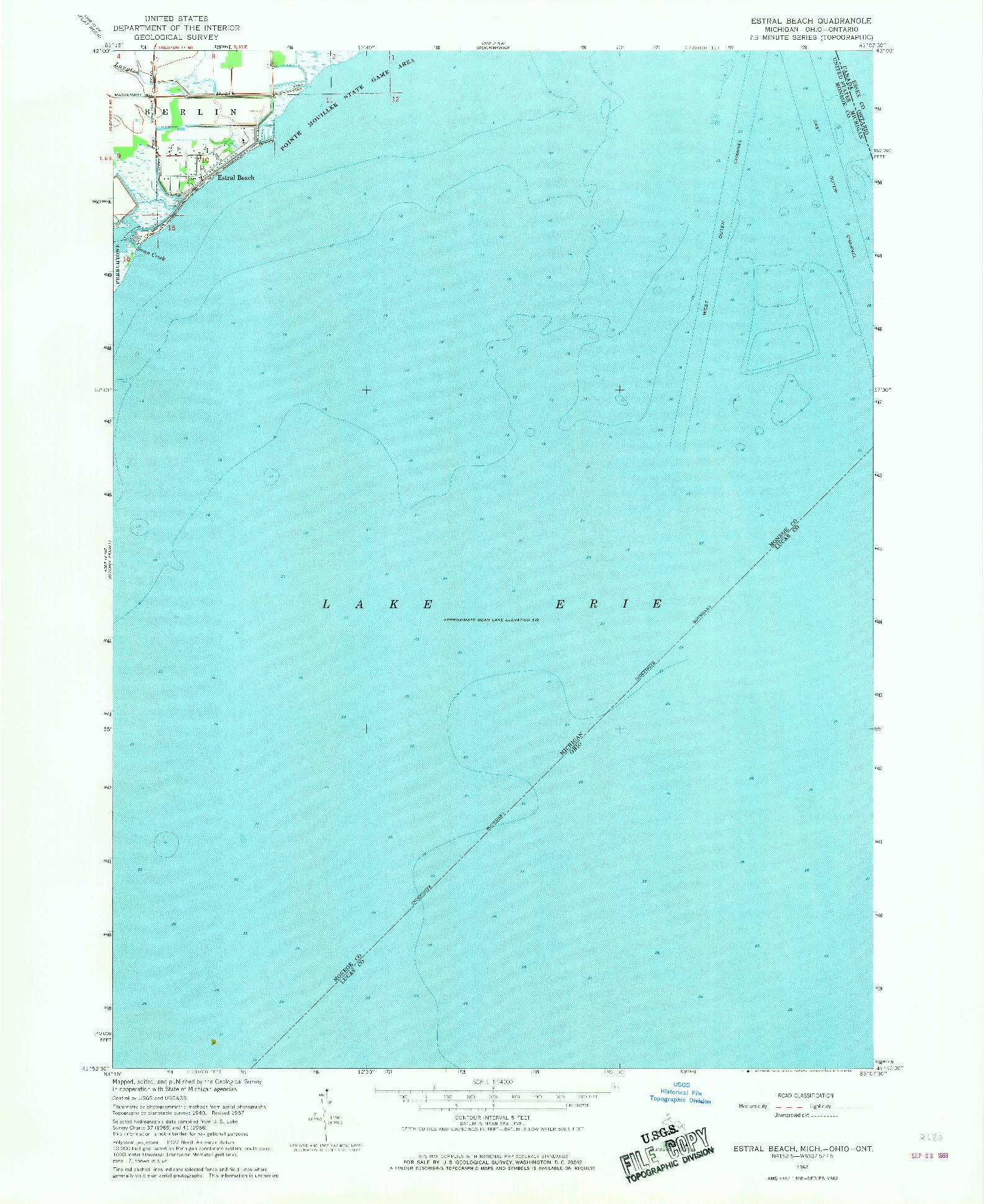 USGS 1:24000-SCALE QUADRANGLE FOR ESTRAL BEACH, MI 1967