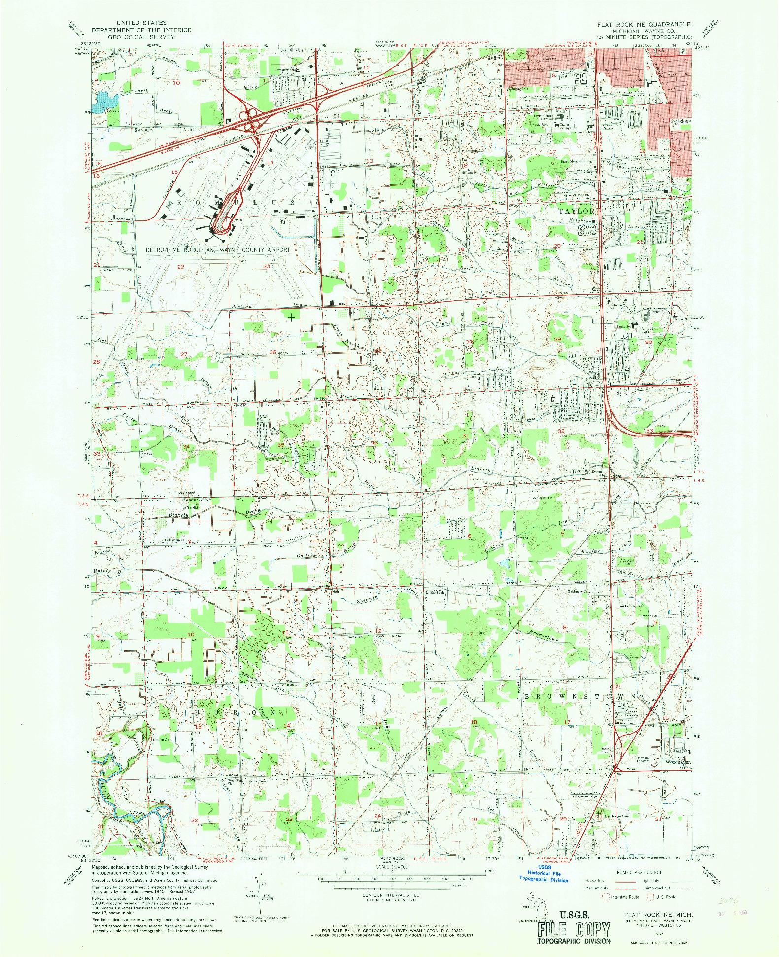 USGS 1:24000-SCALE QUADRANGLE FOR FLAT ROCK NE, MI 1967