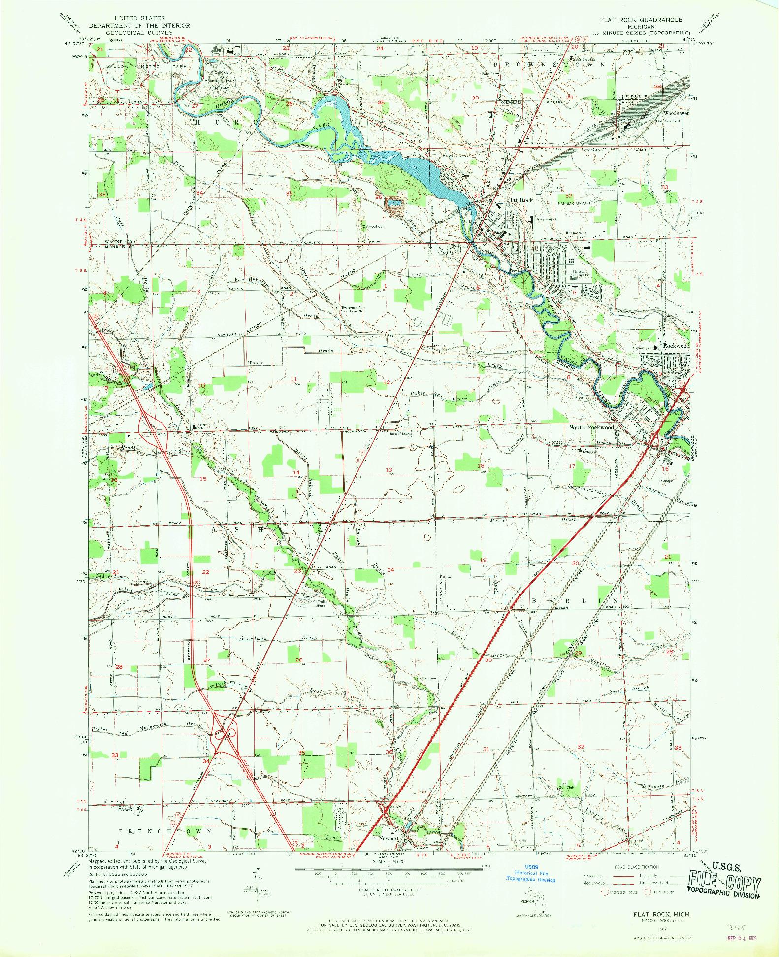 USGS 1:24000-SCALE QUADRANGLE FOR FLAT ROCK, MI 1967