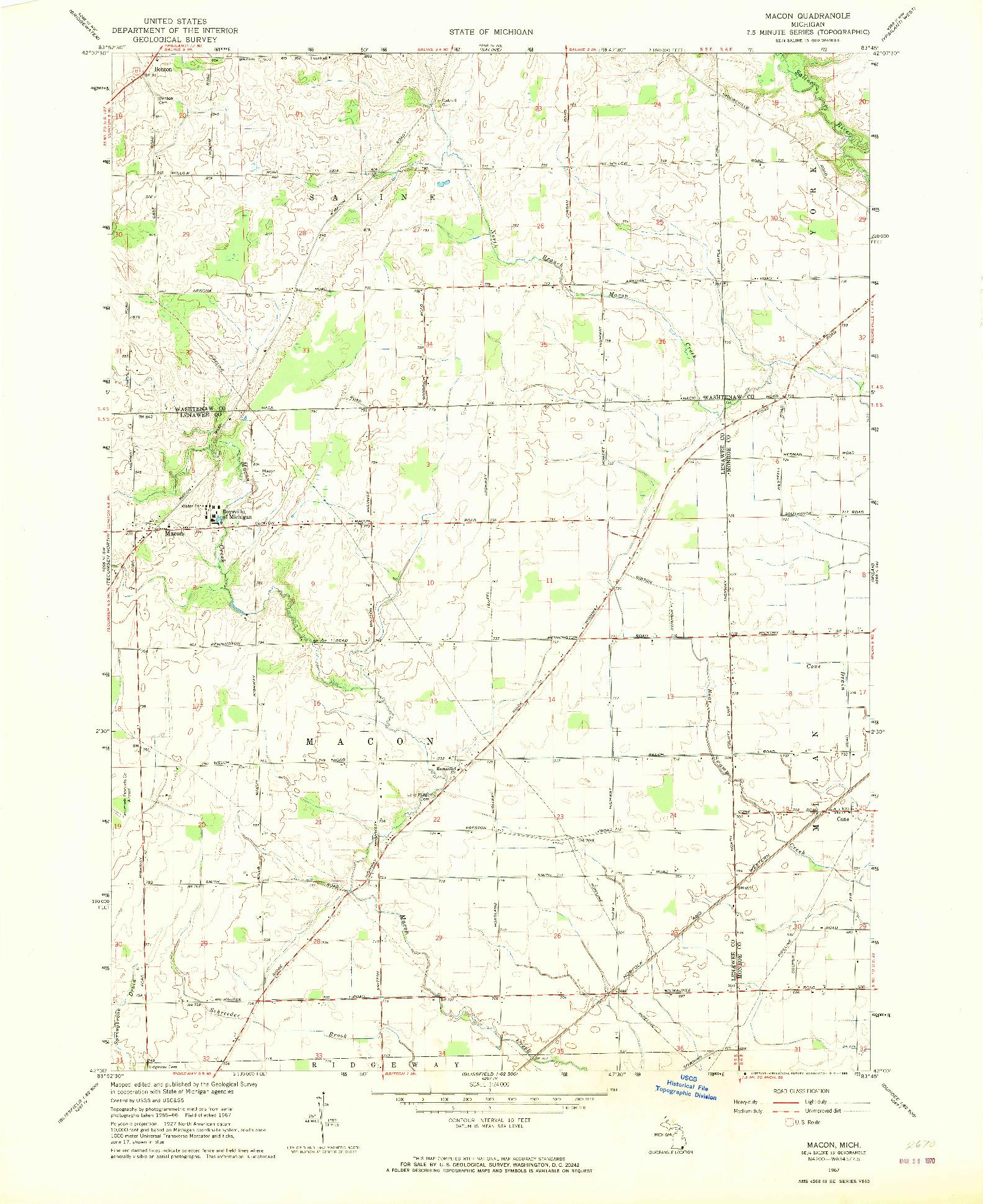 USGS 1:24000-SCALE QUADRANGLE FOR MACON, MI 1967