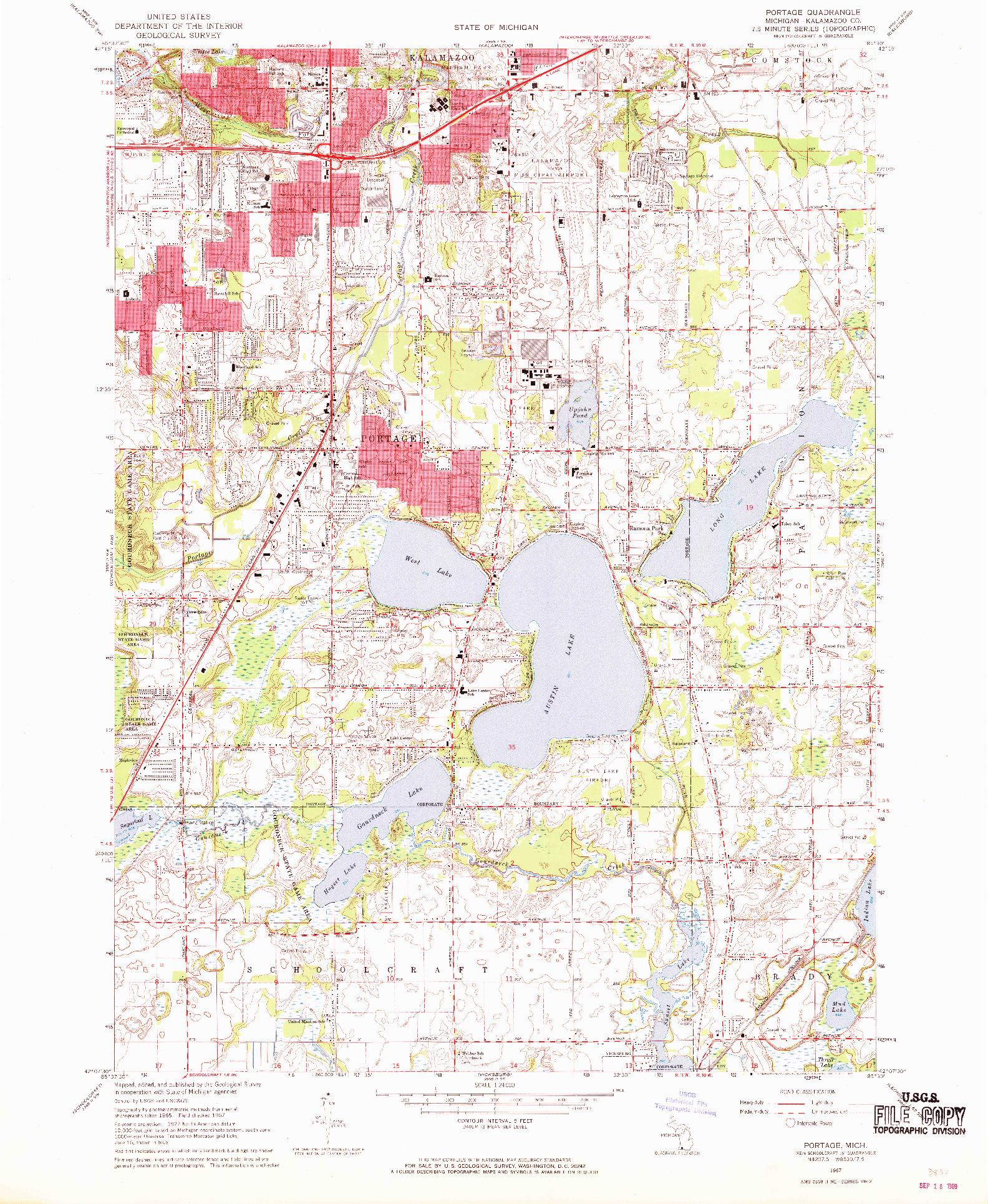 USGS 1:24000-SCALE QUADRANGLE FOR PORTAGE, MI 1967