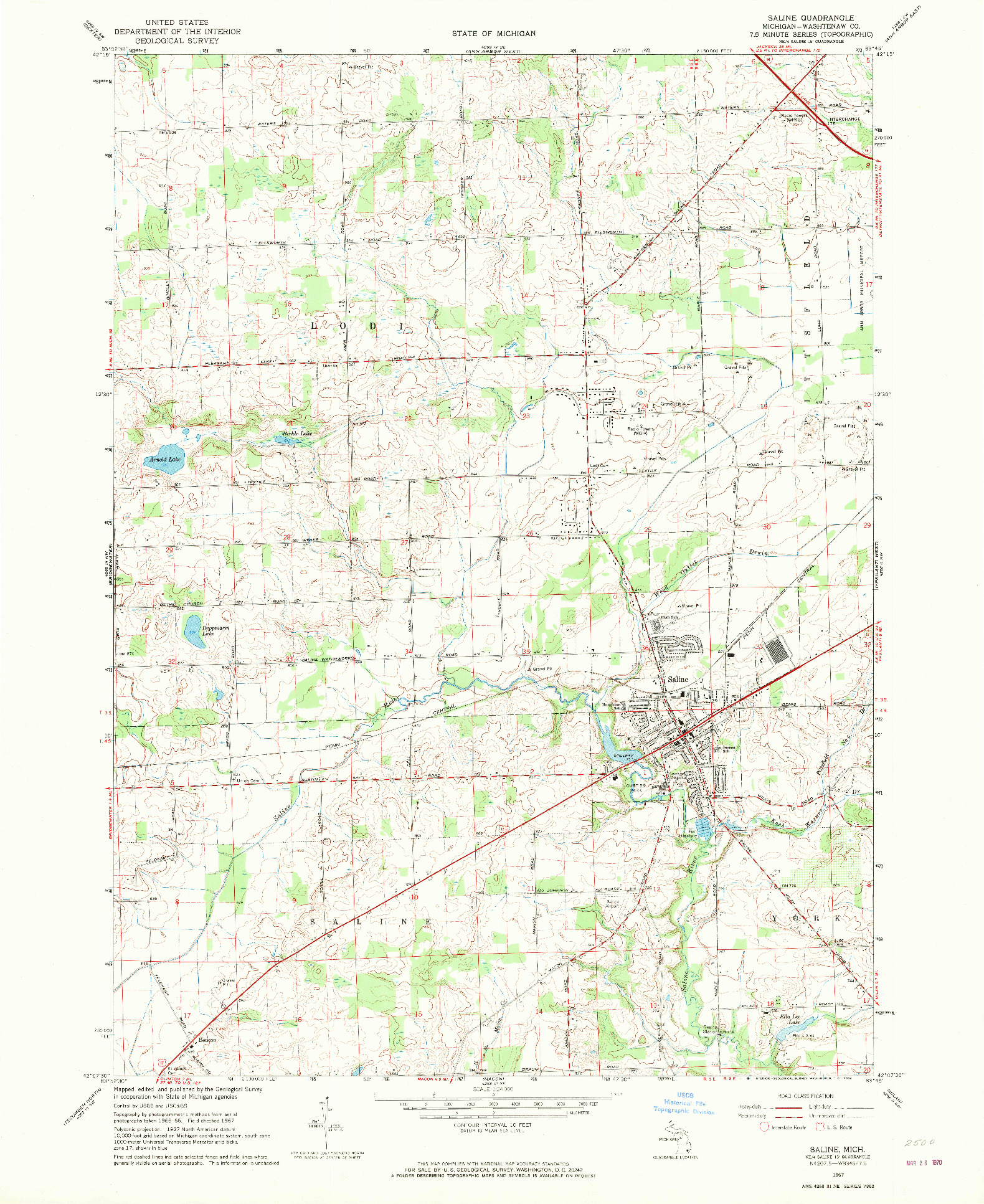 USGS 1:24000-SCALE QUADRANGLE FOR SALINE, MI 1967