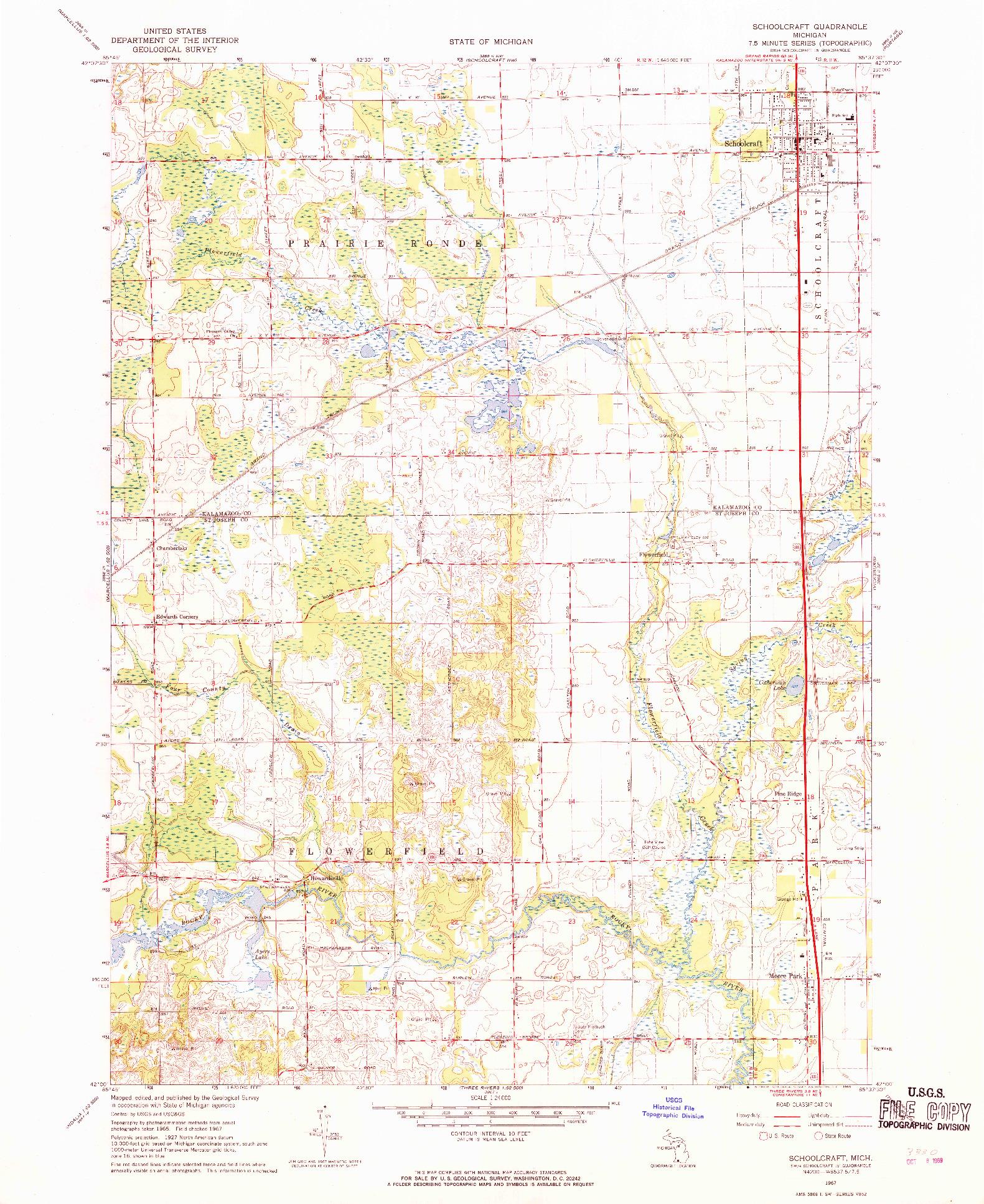 USGS 1:24000-SCALE QUADRANGLE FOR SCHOOLCRAFT, MI 1967