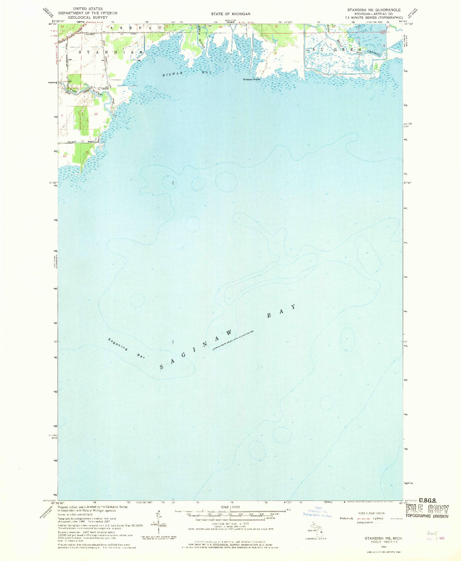 USGS 1:24000-SCALE QUADRANGLE FOR STANDISH NE, MI 1967