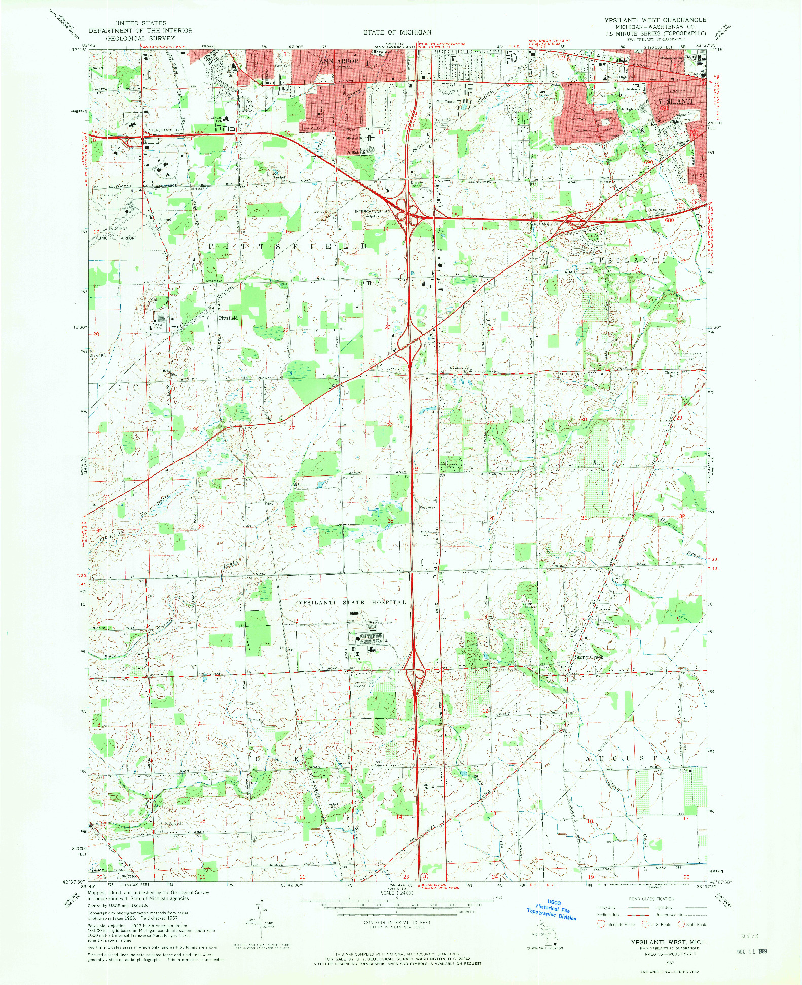 USGS 1:24000-SCALE QUADRANGLE FOR YPSILANTI WEST, MI 1967
