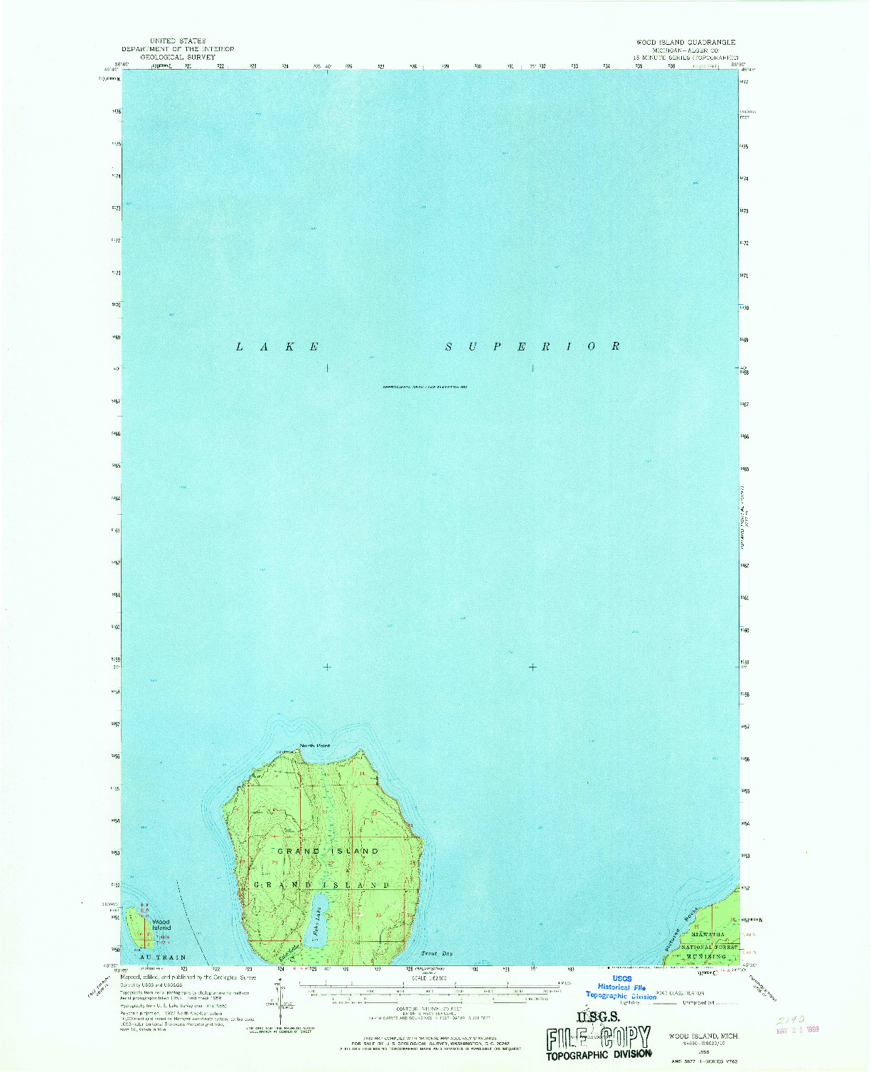 USGS 1:62500-SCALE QUADRANGLE FOR WOOD ISLAND, MI 1958