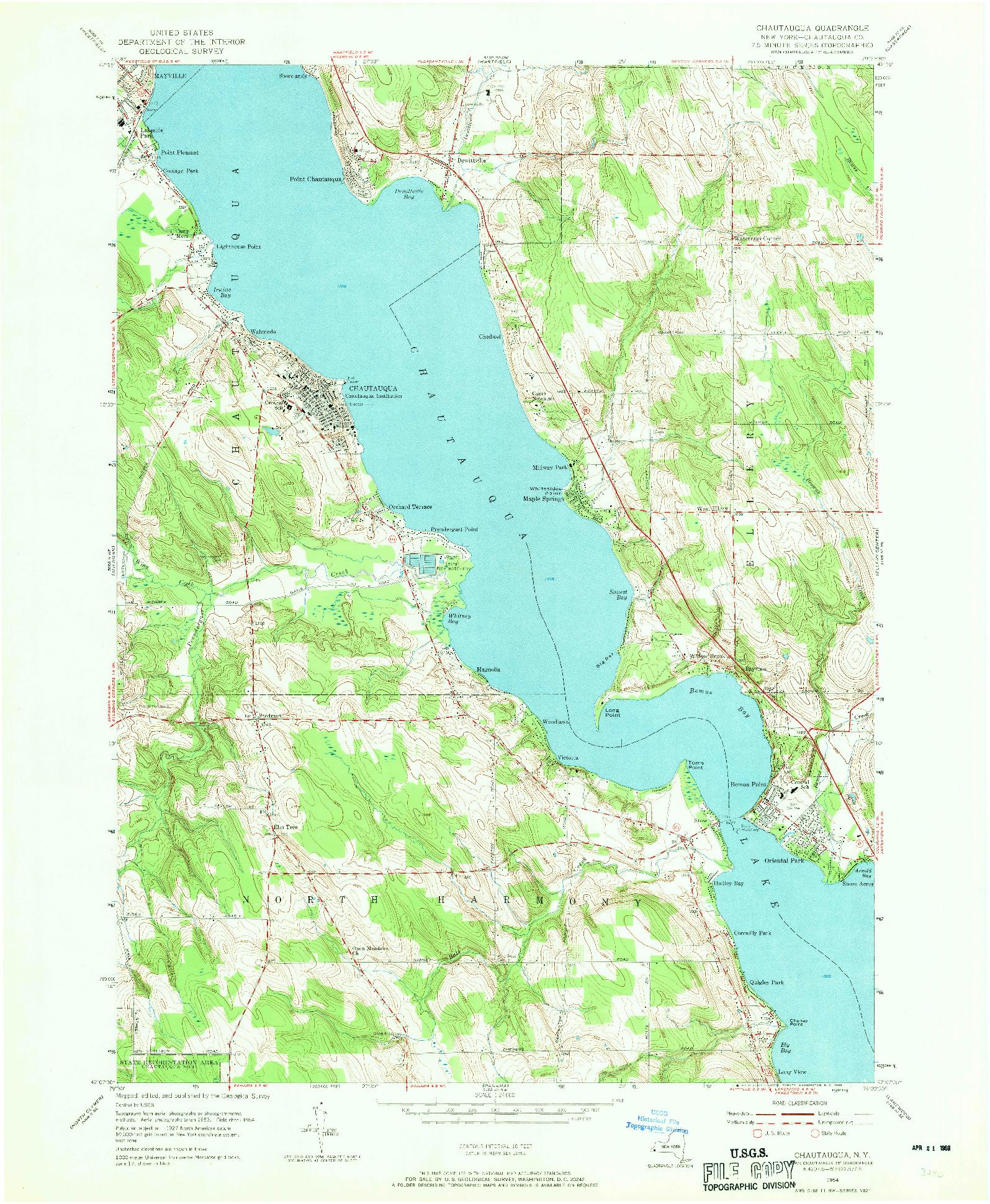 USGS 1:24000-SCALE QUADRANGLE FOR CHAUTAUQUA, NY 1954