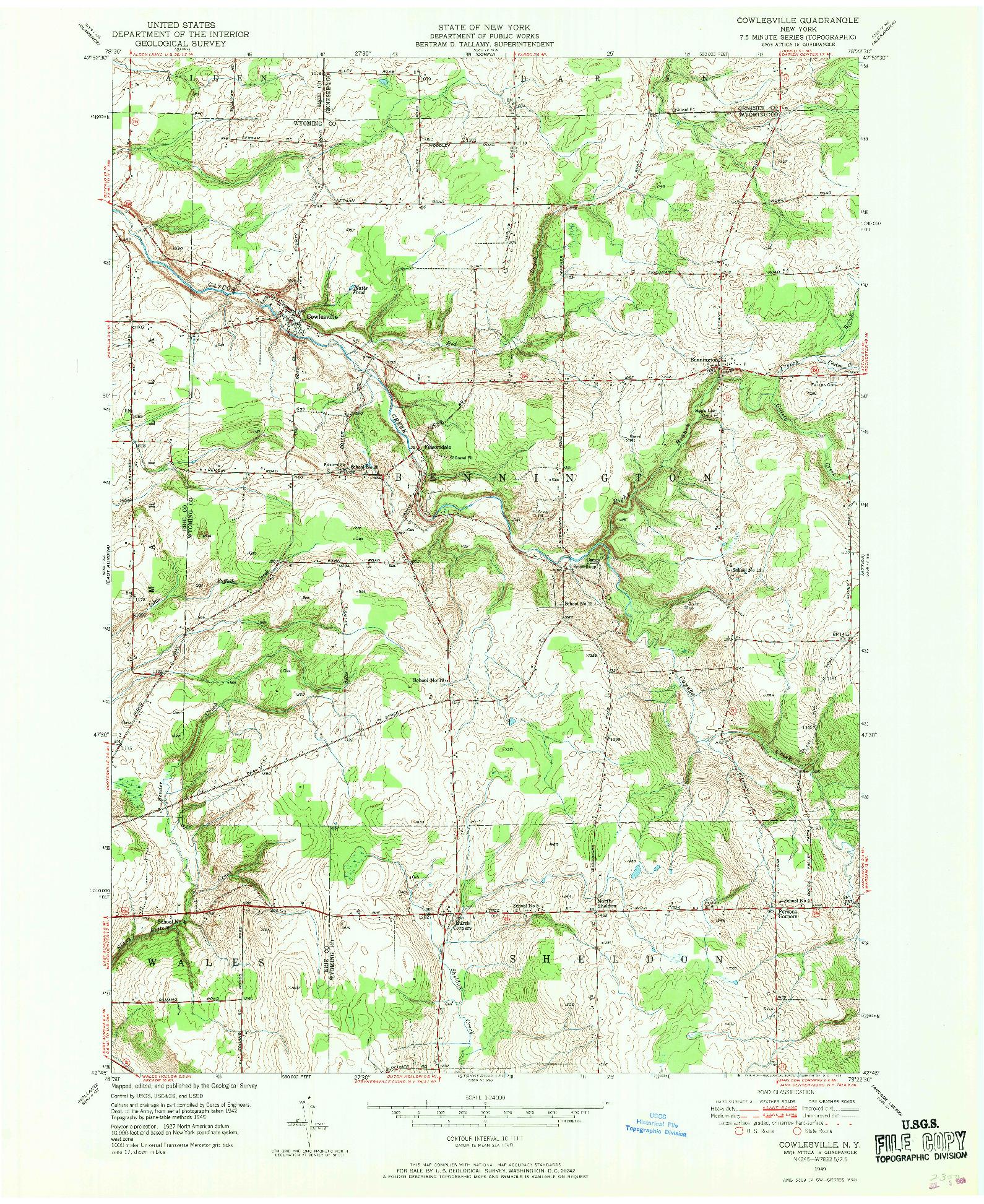 USGS 1:24000-SCALE QUADRANGLE FOR COWLESVILLE, NY 1949