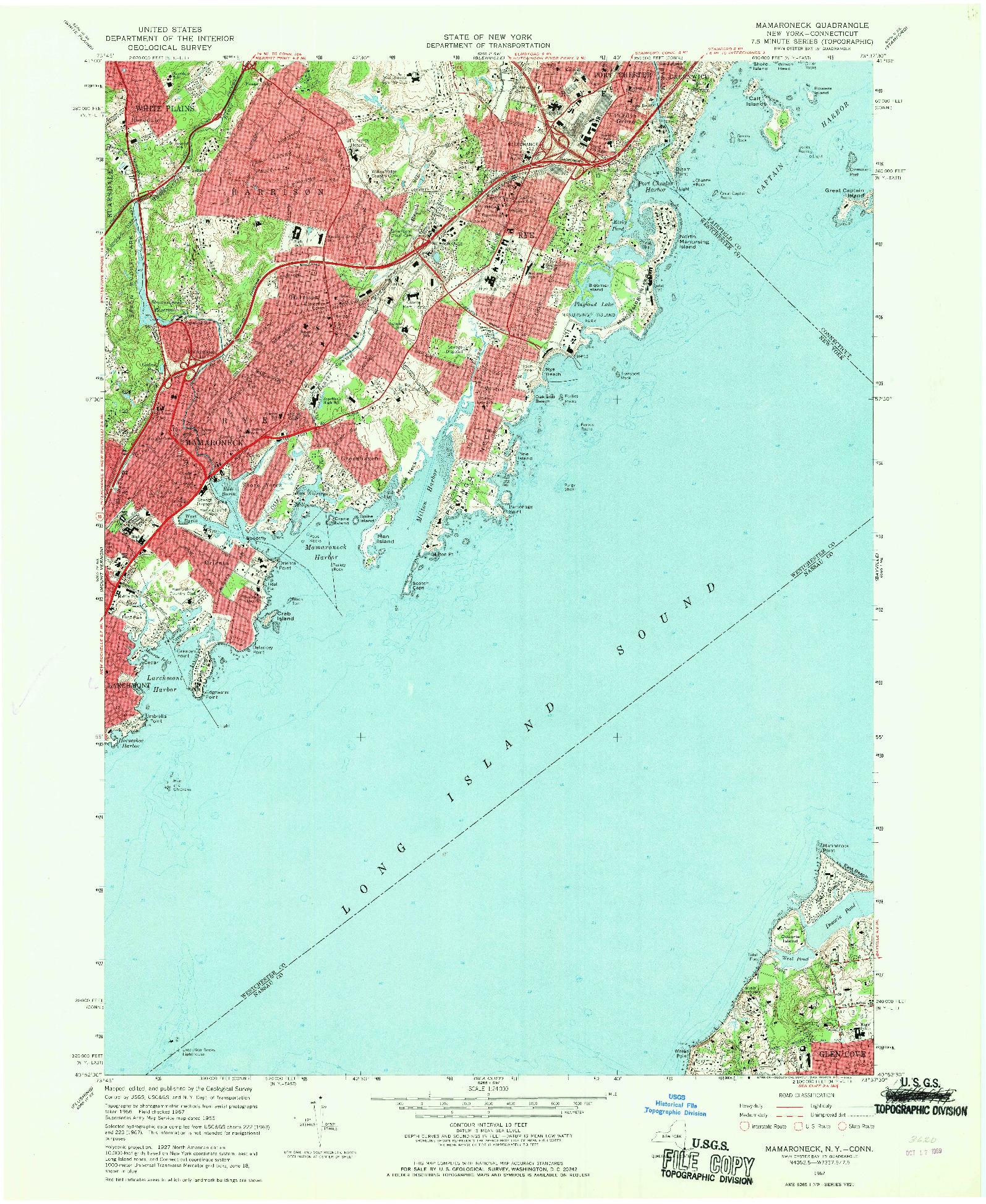 USGS 1:24000-SCALE QUADRANGLE FOR MAMARONECK, NY 1967