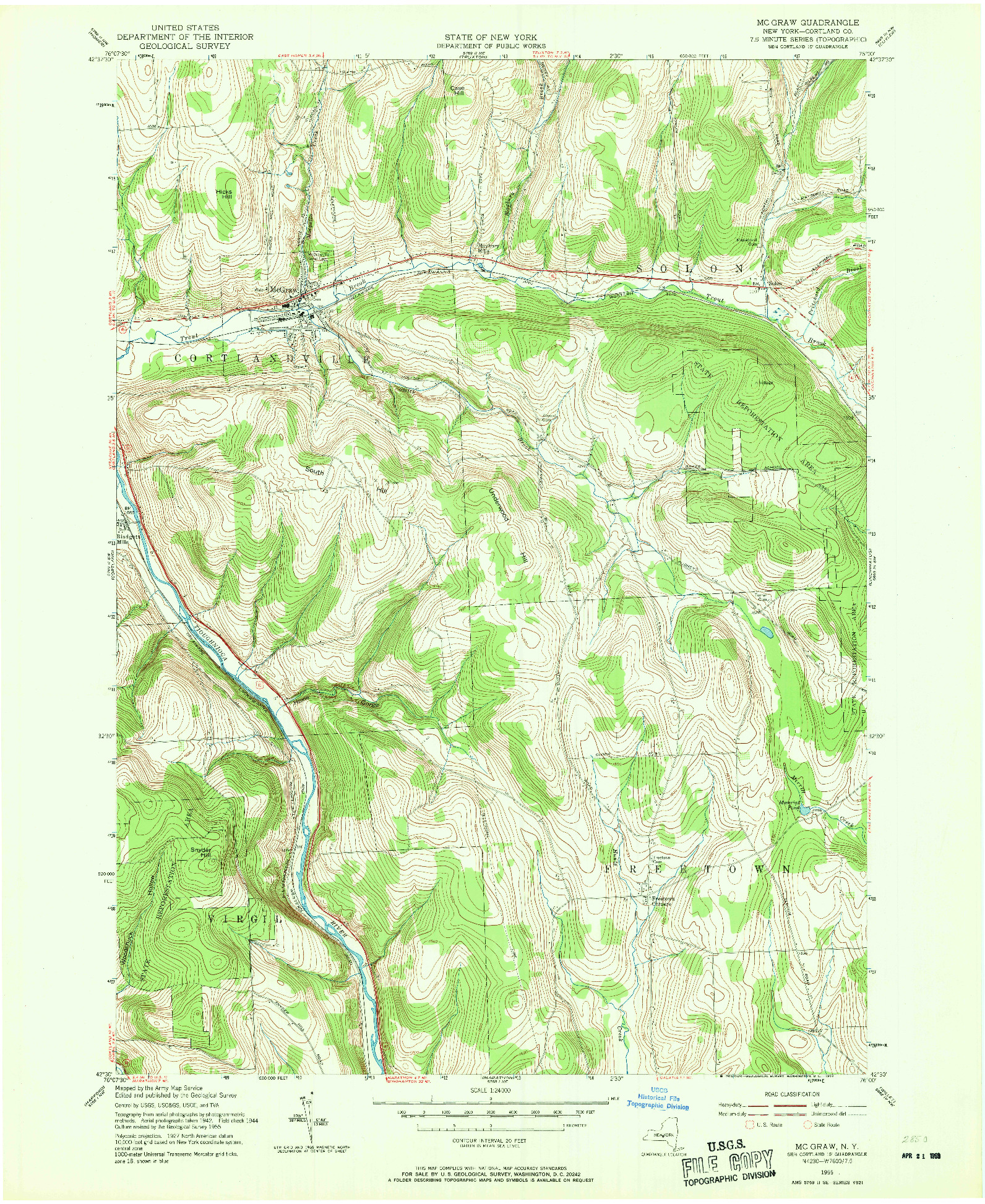 USGS 1:24000-SCALE QUADRANGLE FOR MC GRAW, NY 1955