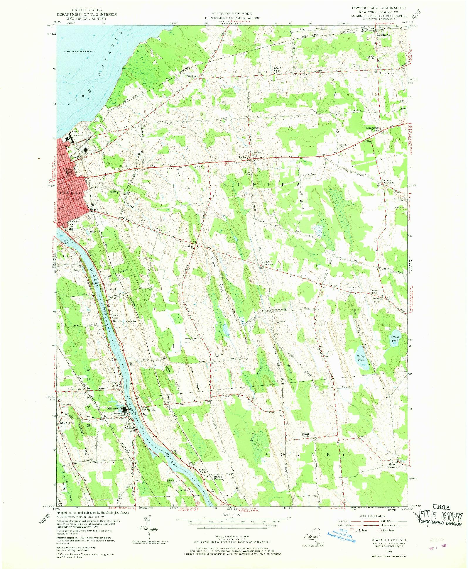USGS 1:24000-SCALE QUADRANGLE FOR OSWEGO EAST, NY 1954