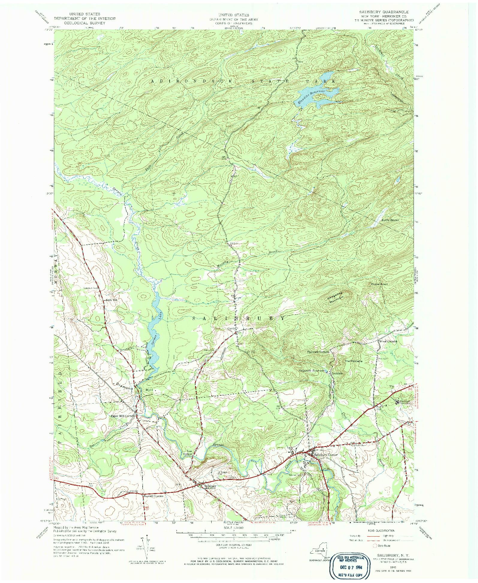 USGS 1:24000-SCALE QUADRANGLE FOR SALISBURY, NY 1945