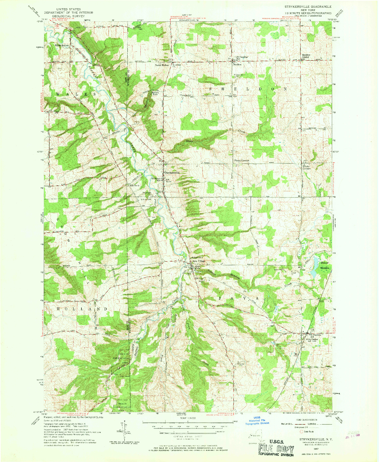 USGS 1:24000-SCALE QUADRANGLE FOR STRYKERSVILLE, NY 1957