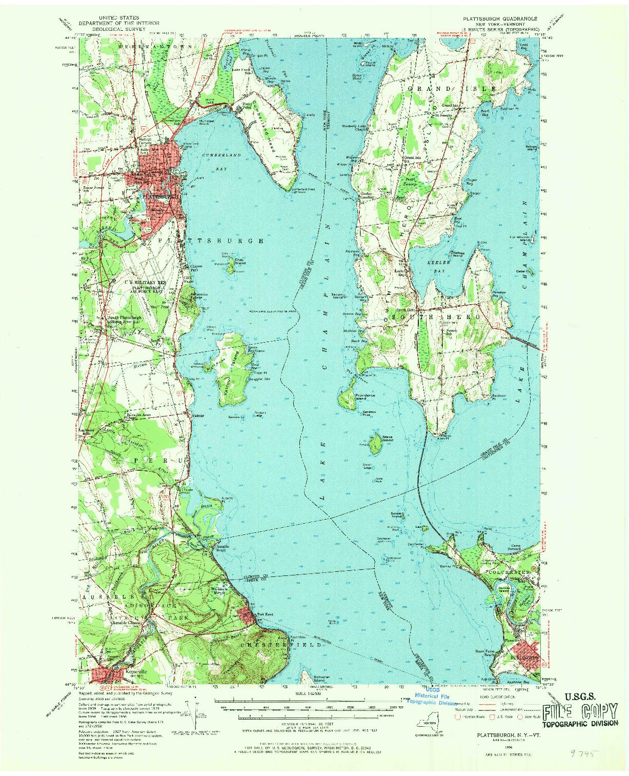 USGS 1:62500-SCALE QUADRANGLE FOR PLATTSBURGH, NY 1956