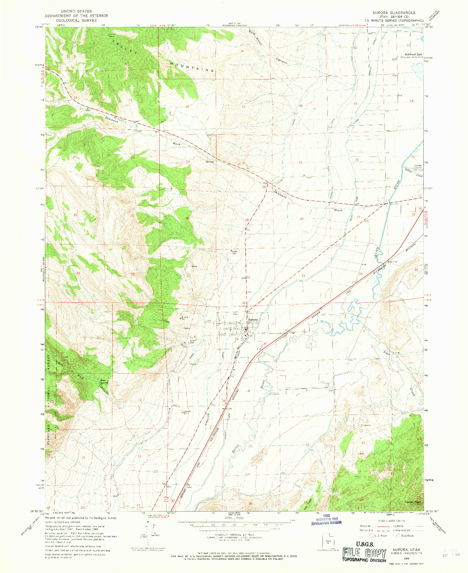 USGS 1:24000-SCALE QUADRANGLE FOR AURORA, UT 1966