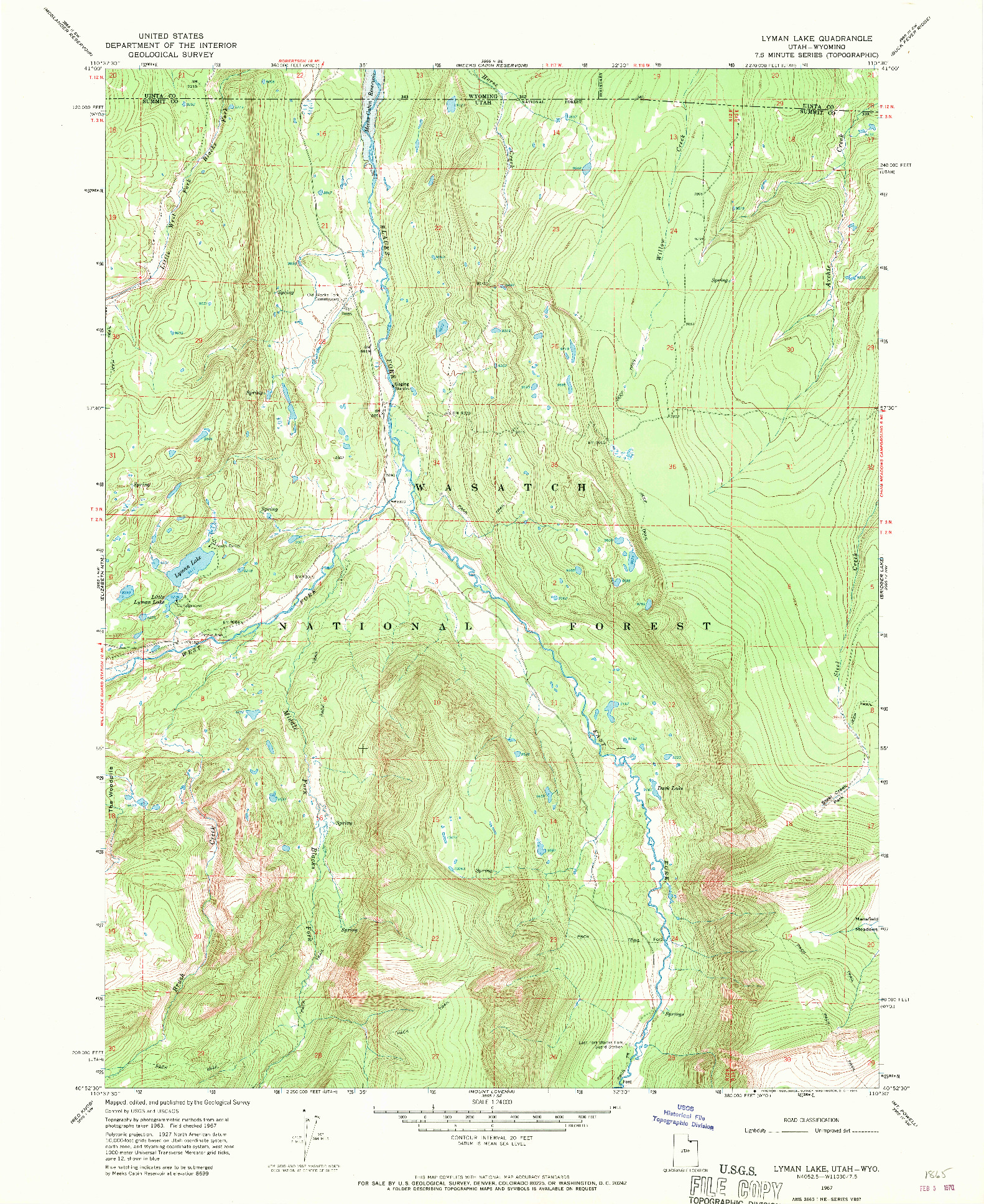 USGS 1:24000-SCALE QUADRANGLE FOR LYMAN LAKE, UT 1967