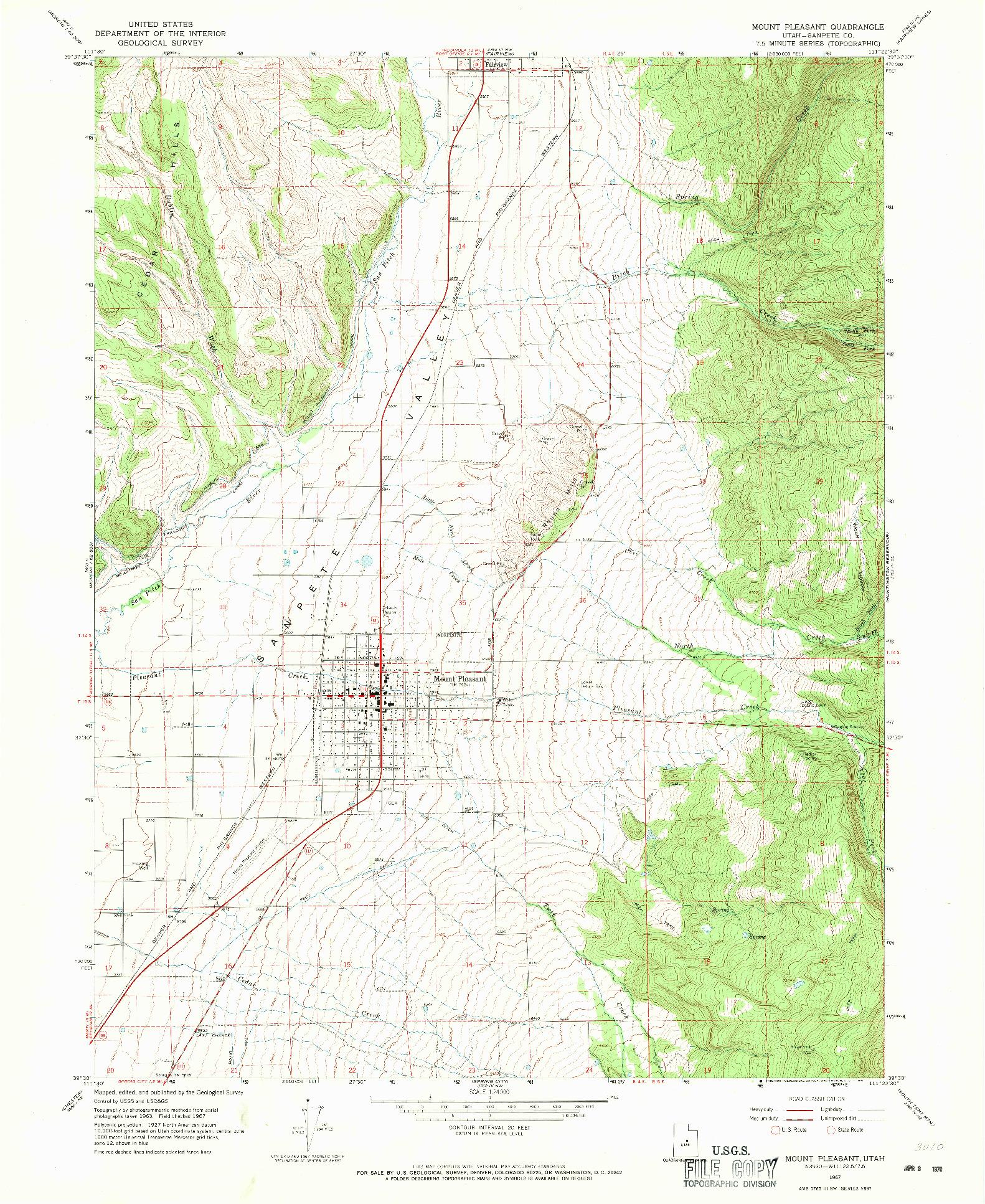 USGS 1:24000-SCALE QUADRANGLE FOR MOUNT PLEASANT, UT 1967