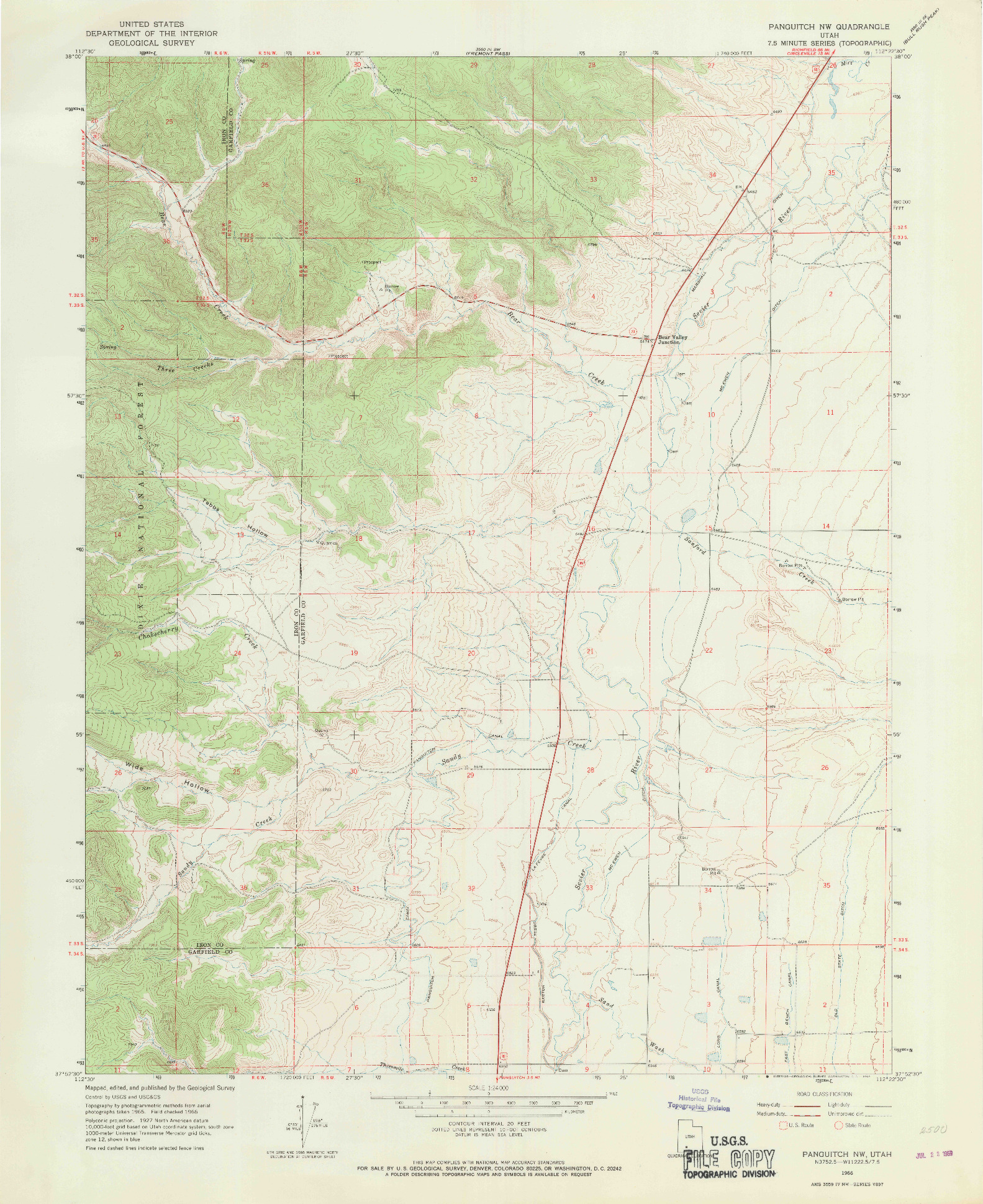 USGS 1:24000-SCALE QUADRANGLE FOR PANGUITCH NW, UT 1966