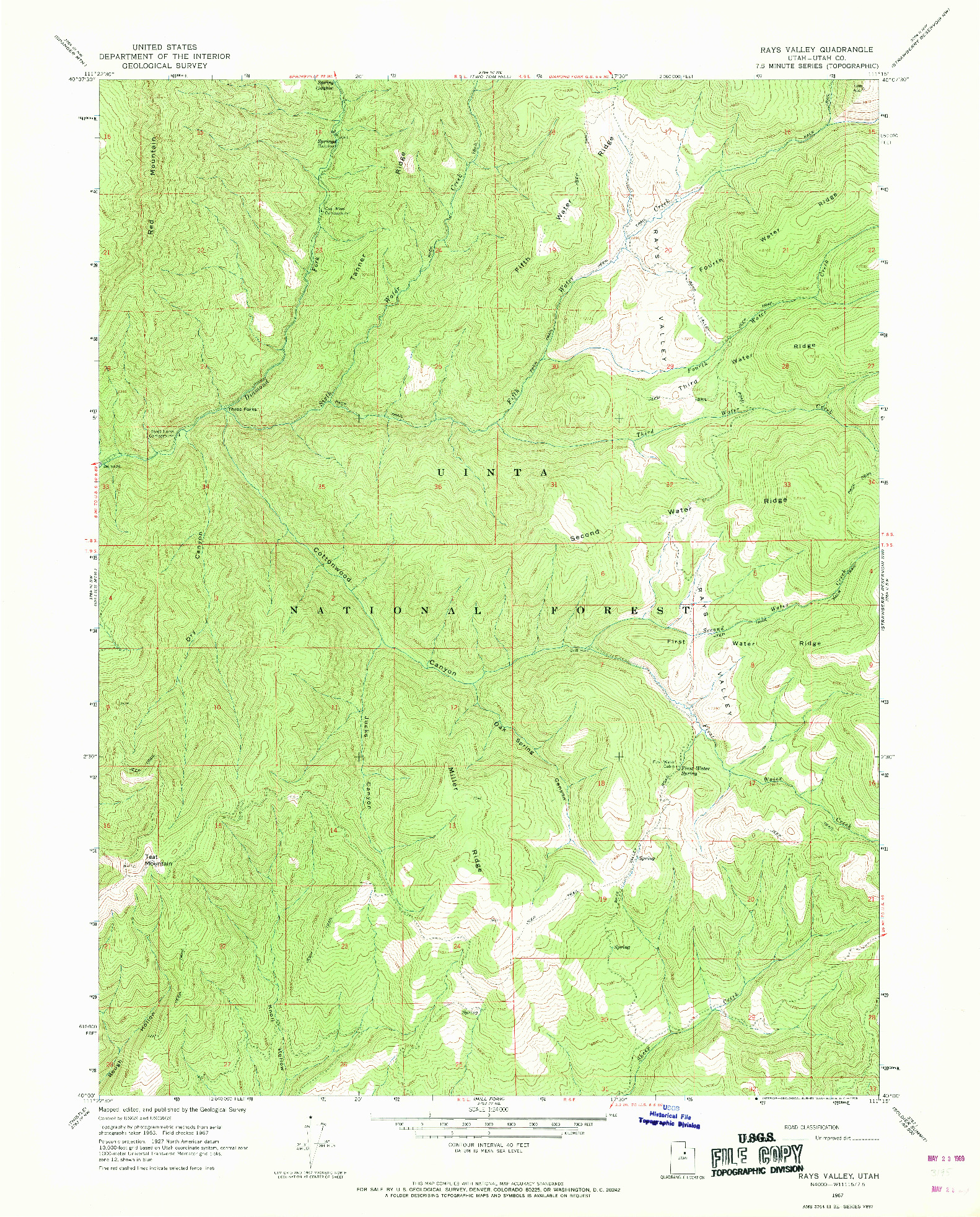 USGS 1:24000-SCALE QUADRANGLE FOR RAYS VALLEY, UT 1967