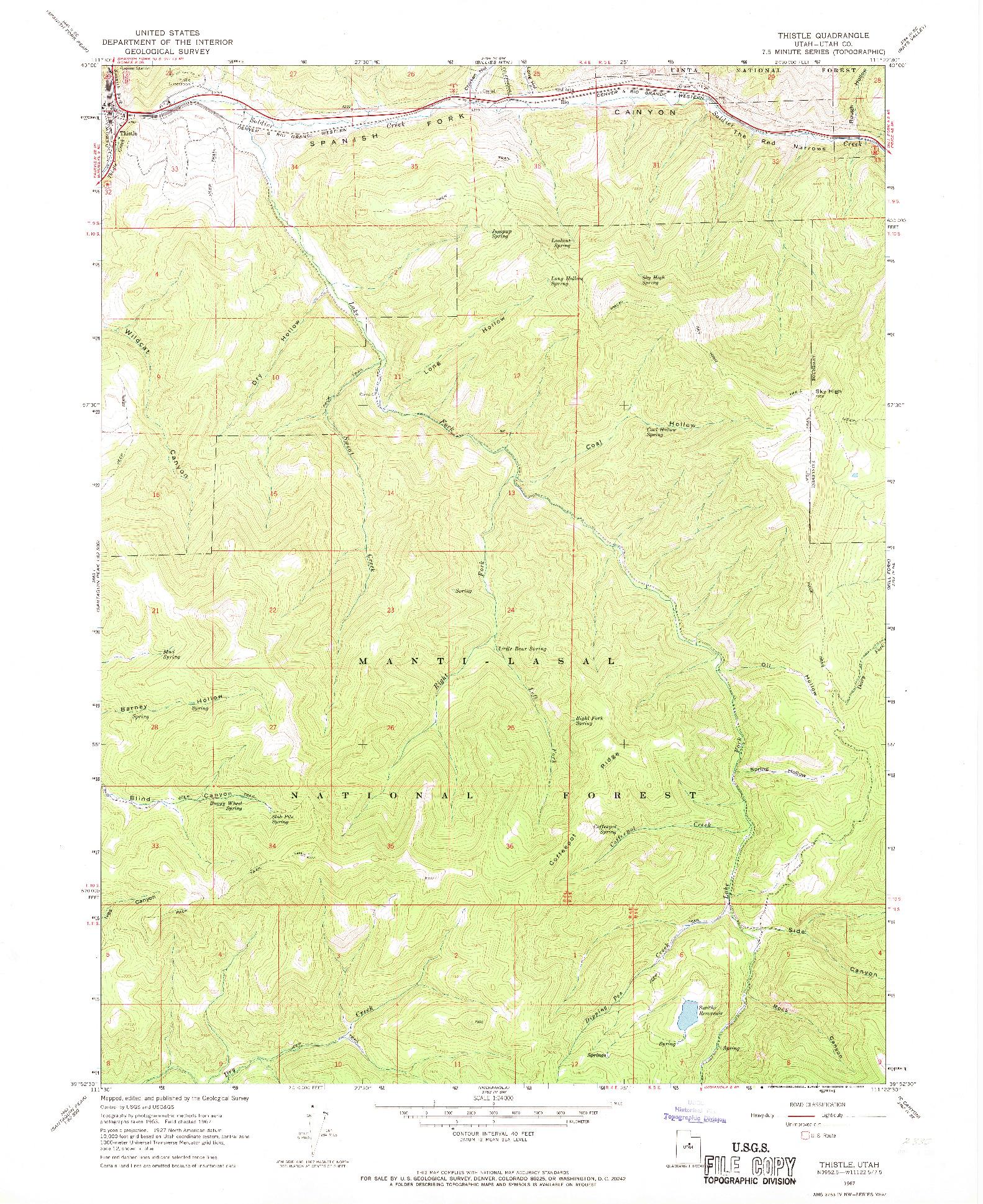 USGS 1:24000-SCALE QUADRANGLE FOR THISTLE, UT 1967