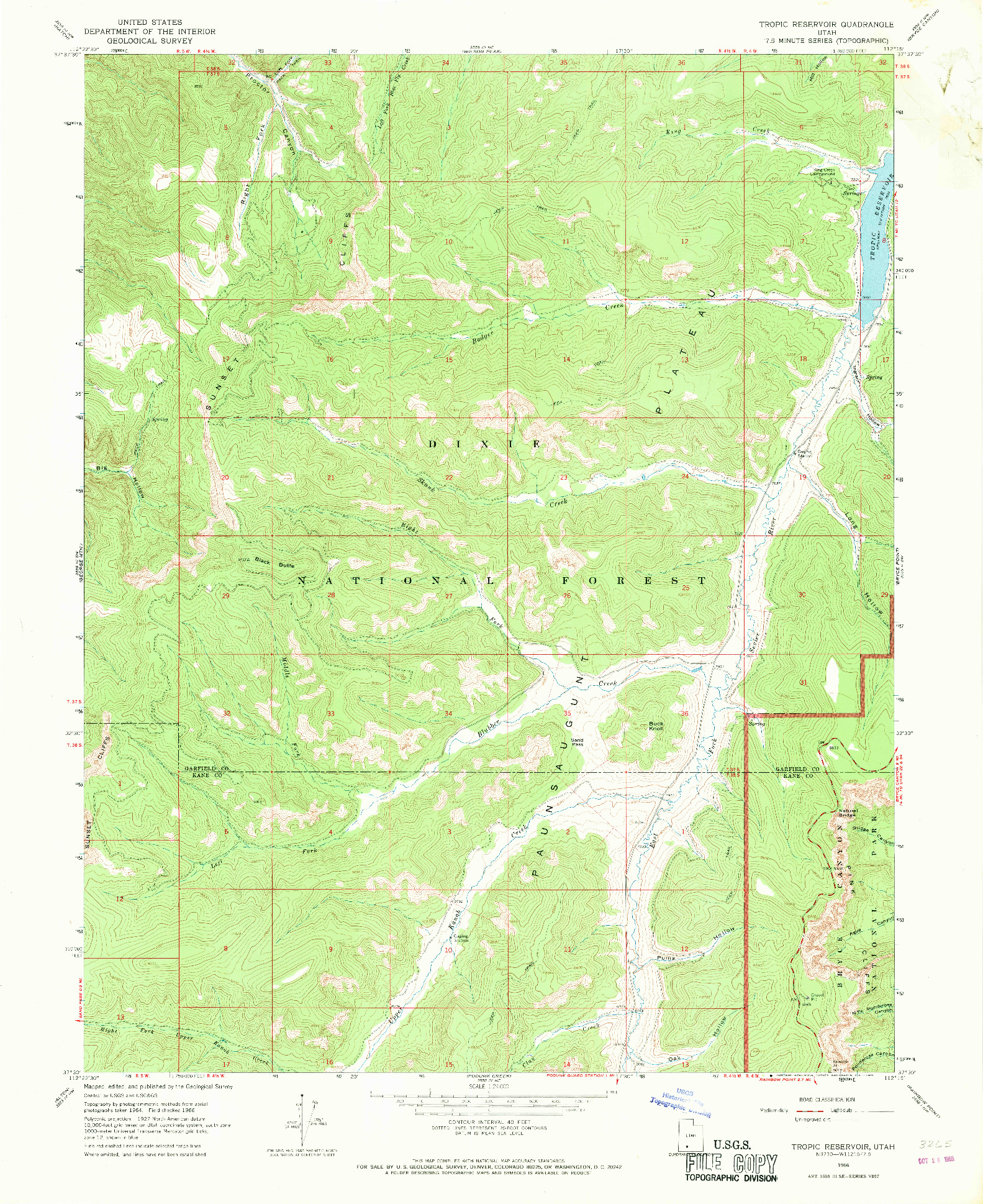 USGS 1:24000-SCALE QUADRANGLE FOR TROPIC RESERVOIR, UT 1966