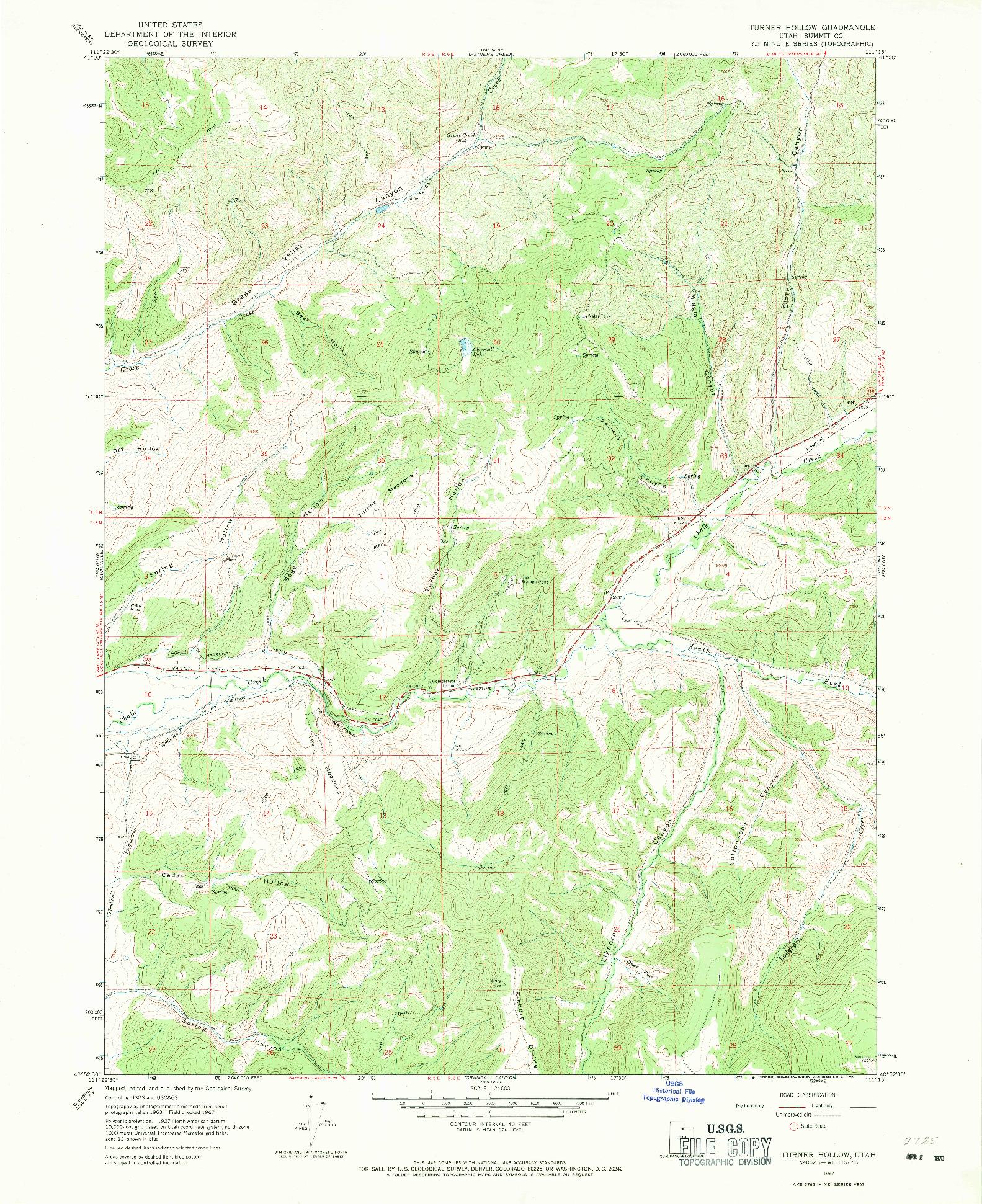 USGS 1:24000-SCALE QUADRANGLE FOR TURNER HOLLOW, UT 1967