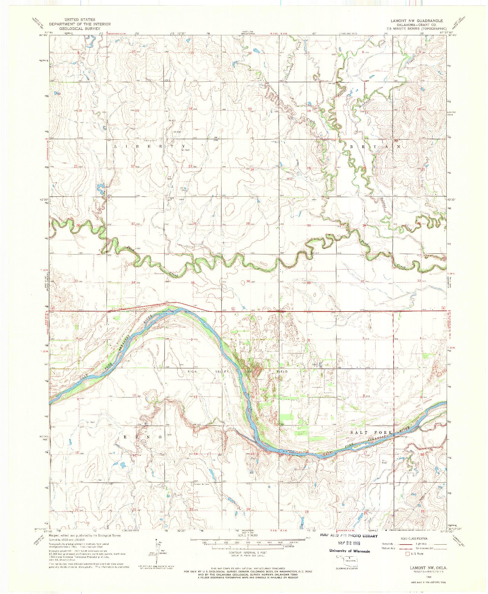 USGS 1:24000-SCALE QUADRANGLE FOR LAMONT NW, OK 1968