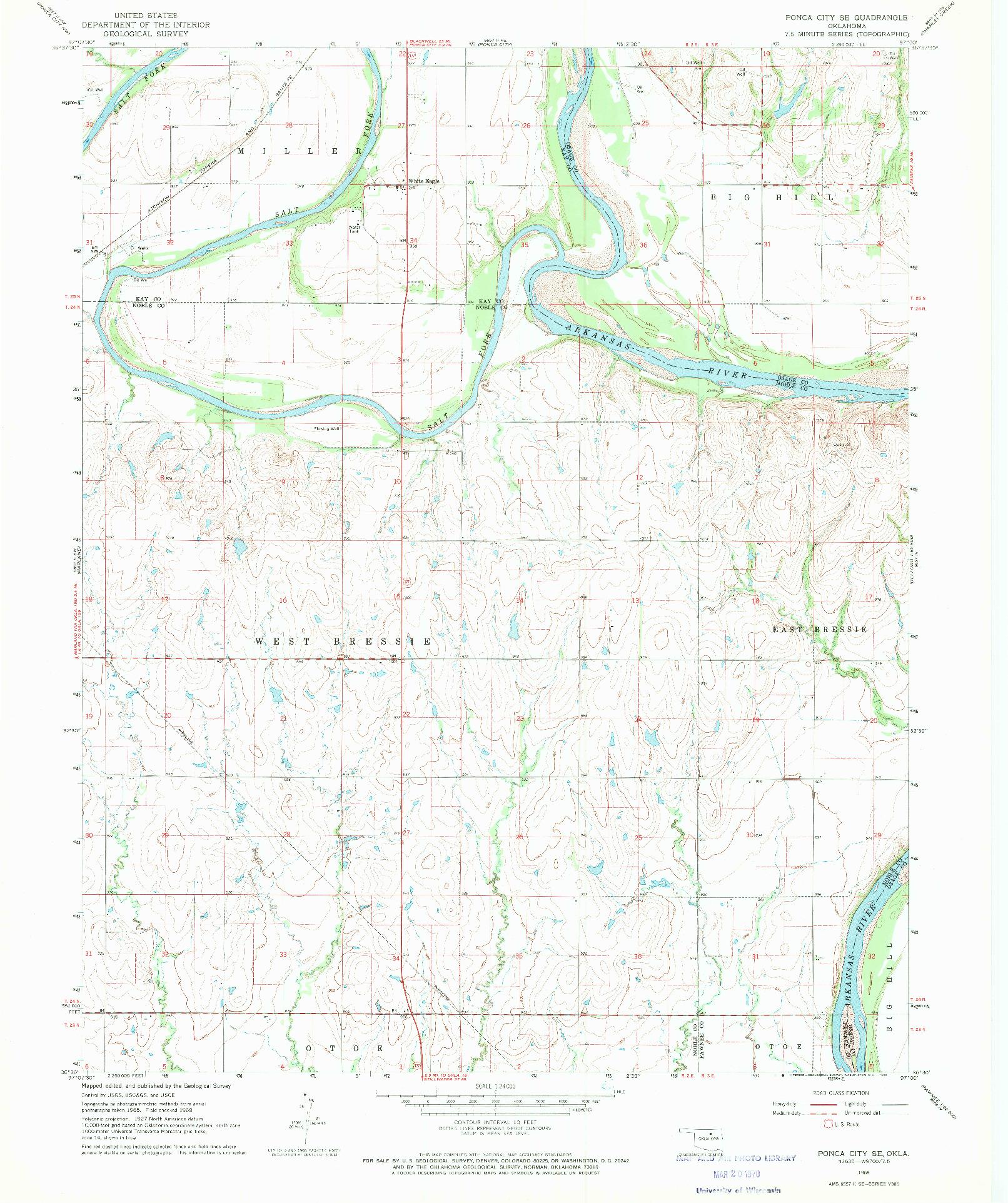 USGS 1:24000-SCALE QUADRANGLE FOR PONCA CITY SE, OK 1968