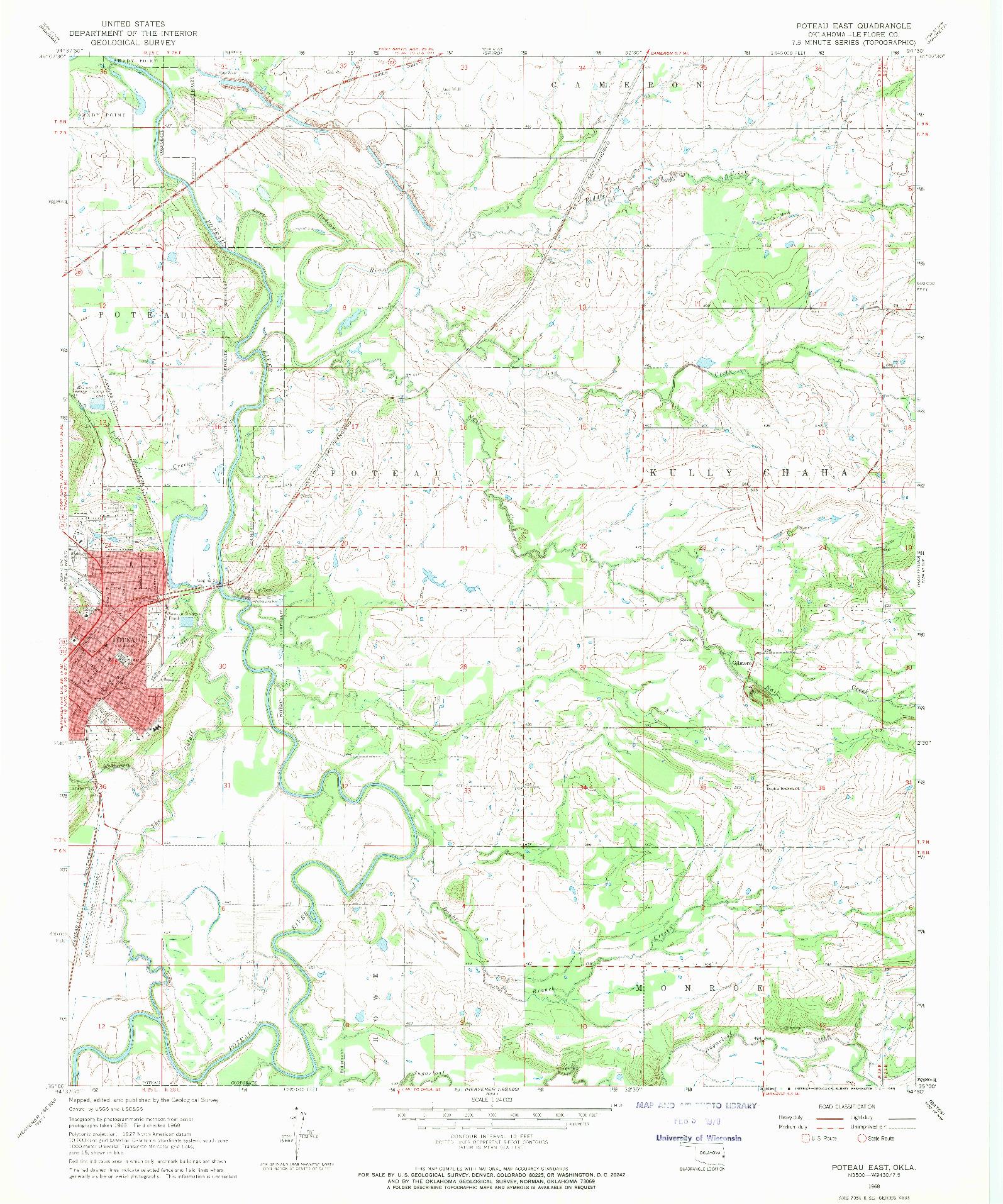 USGS 1:24000-SCALE QUADRANGLE FOR POTEAU EAST, OK 1968