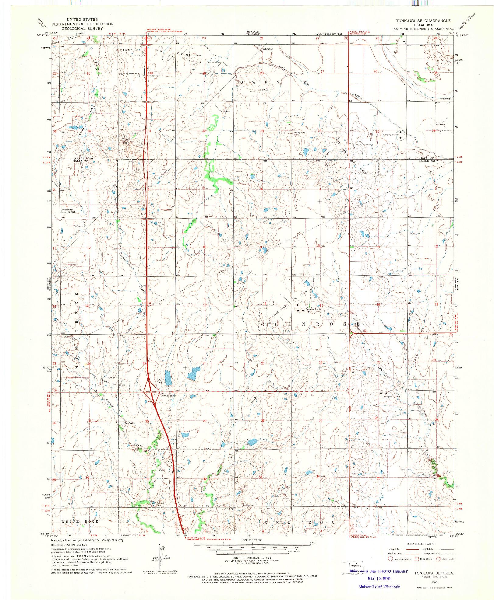 USGS 1:24000-SCALE QUADRANGLE FOR TONKAWA SE, OK 1968