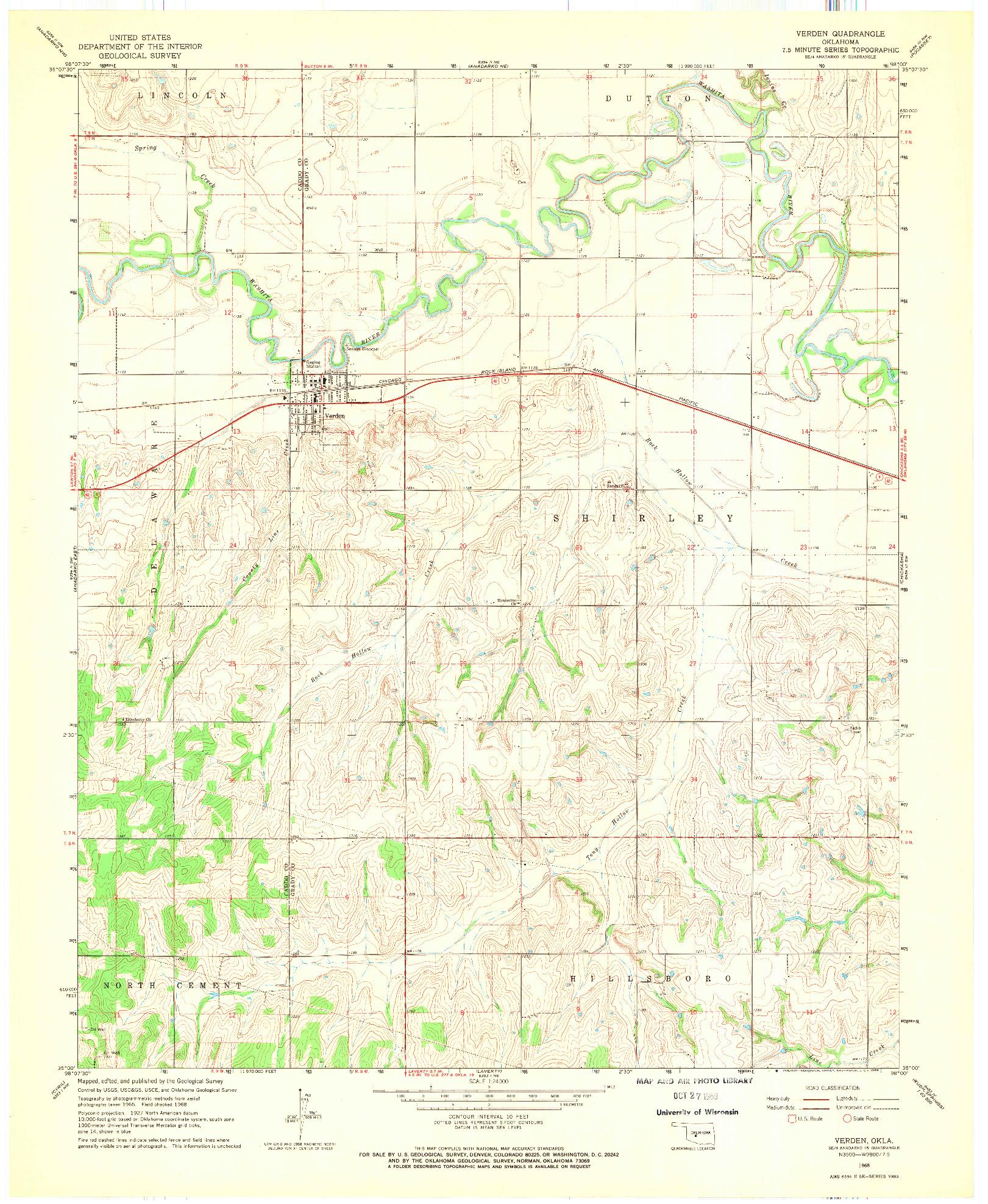 USGS 1:24000-SCALE QUADRANGLE FOR VERDEN, OK 1968