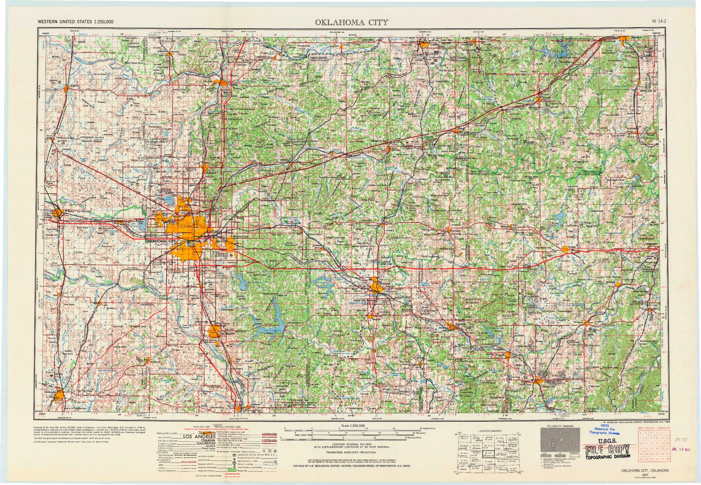 USGS 1:250000-SCALE QUADRANGLE FOR OKLAHOMA CITY, OK 1957