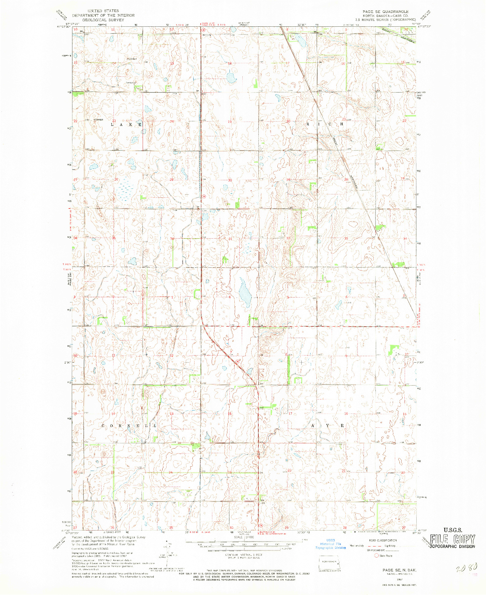 USGS 1:24000-SCALE QUADRANGLE FOR PAGE SE, ND 1967