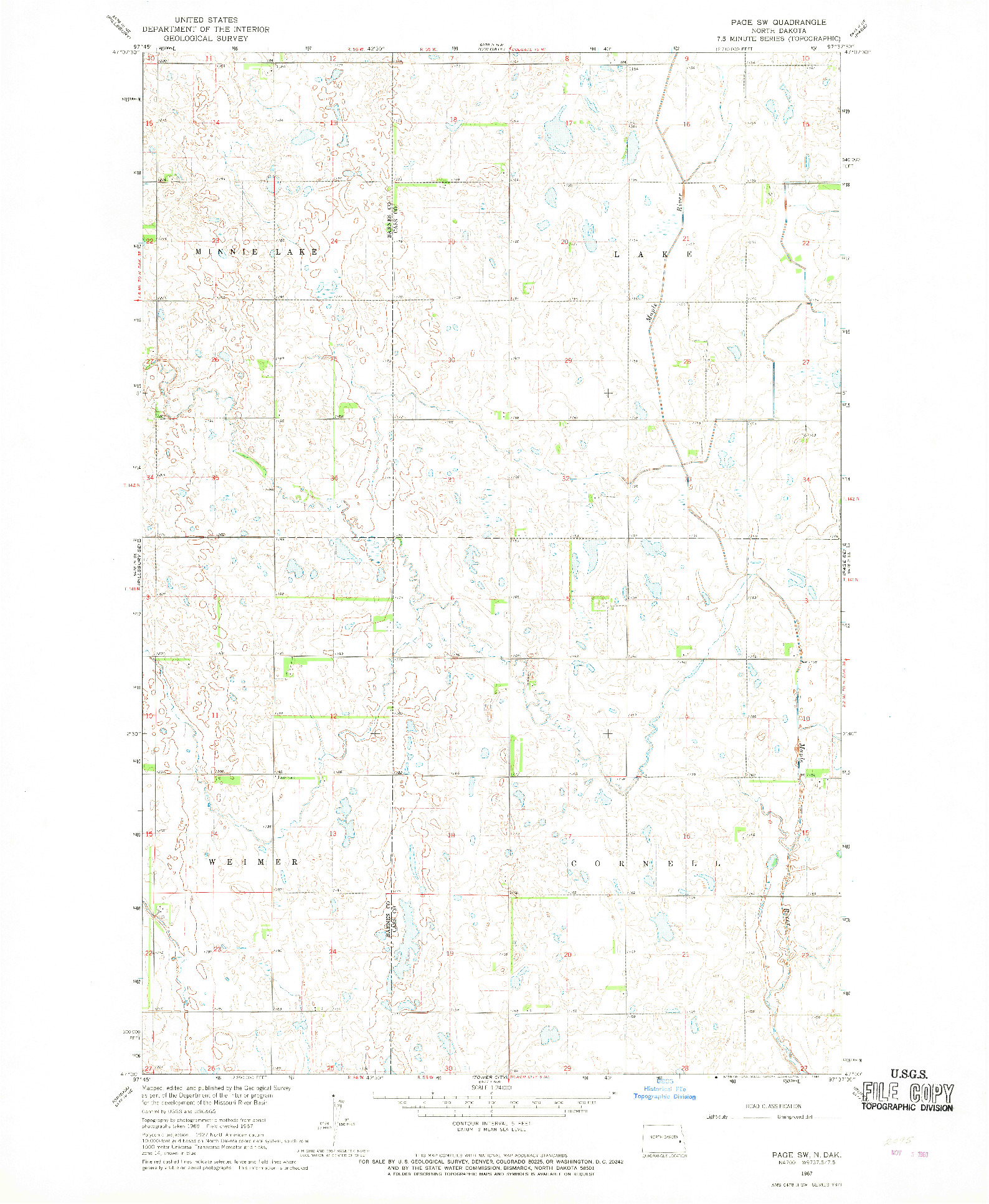 USGS 1:24000-SCALE QUADRANGLE FOR PAGE SW, ND 1967