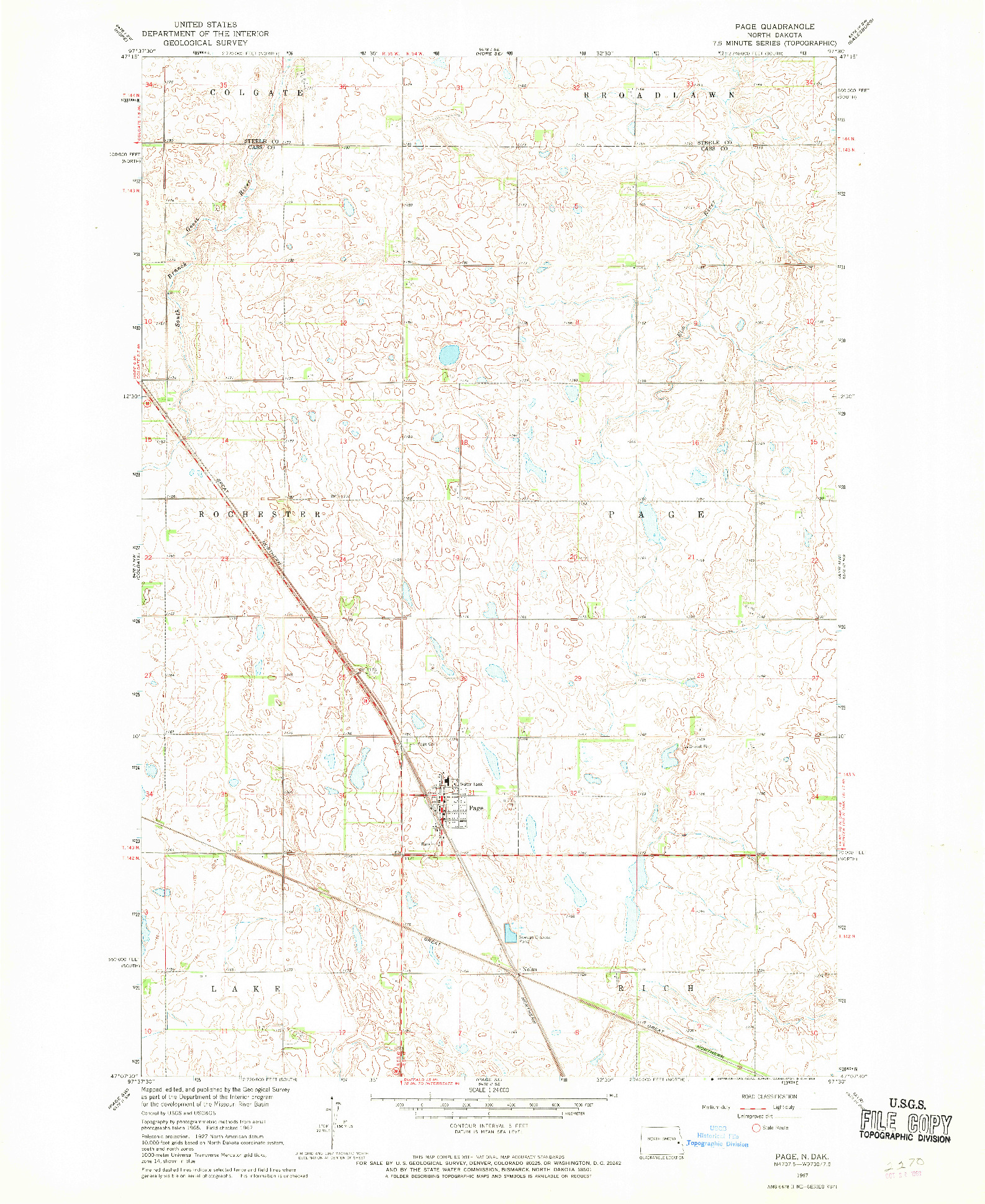USGS 1:24000-SCALE QUADRANGLE FOR PAGE, ND 1967