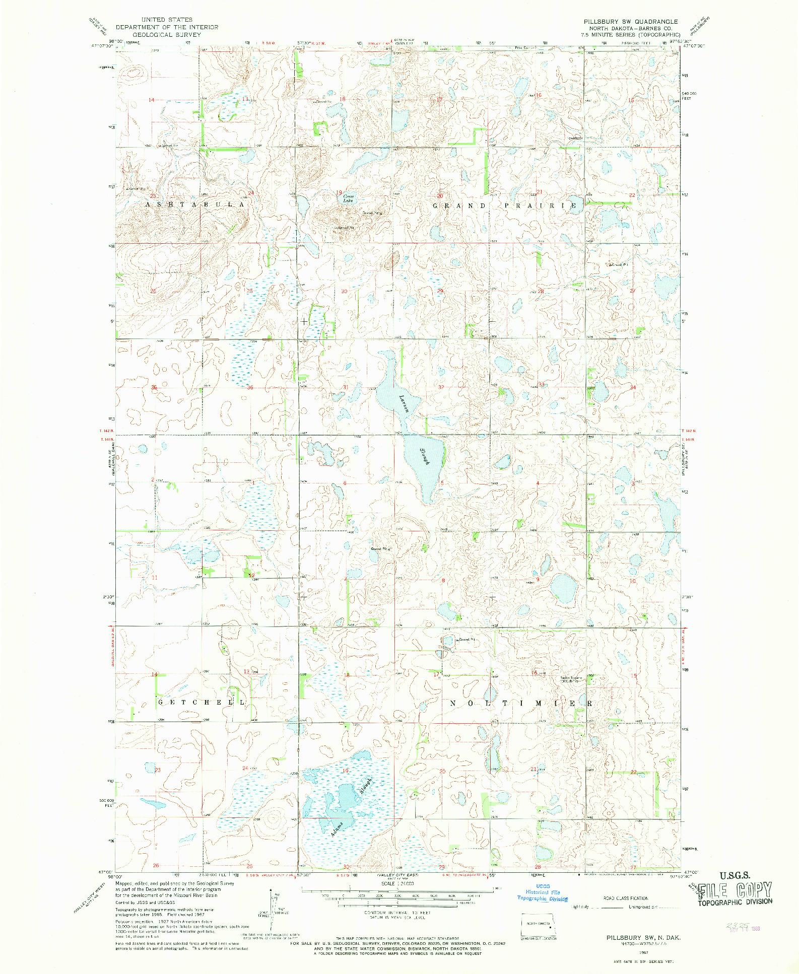 USGS 1:24000-SCALE QUADRANGLE FOR PILLSBURY SW, ND 1967