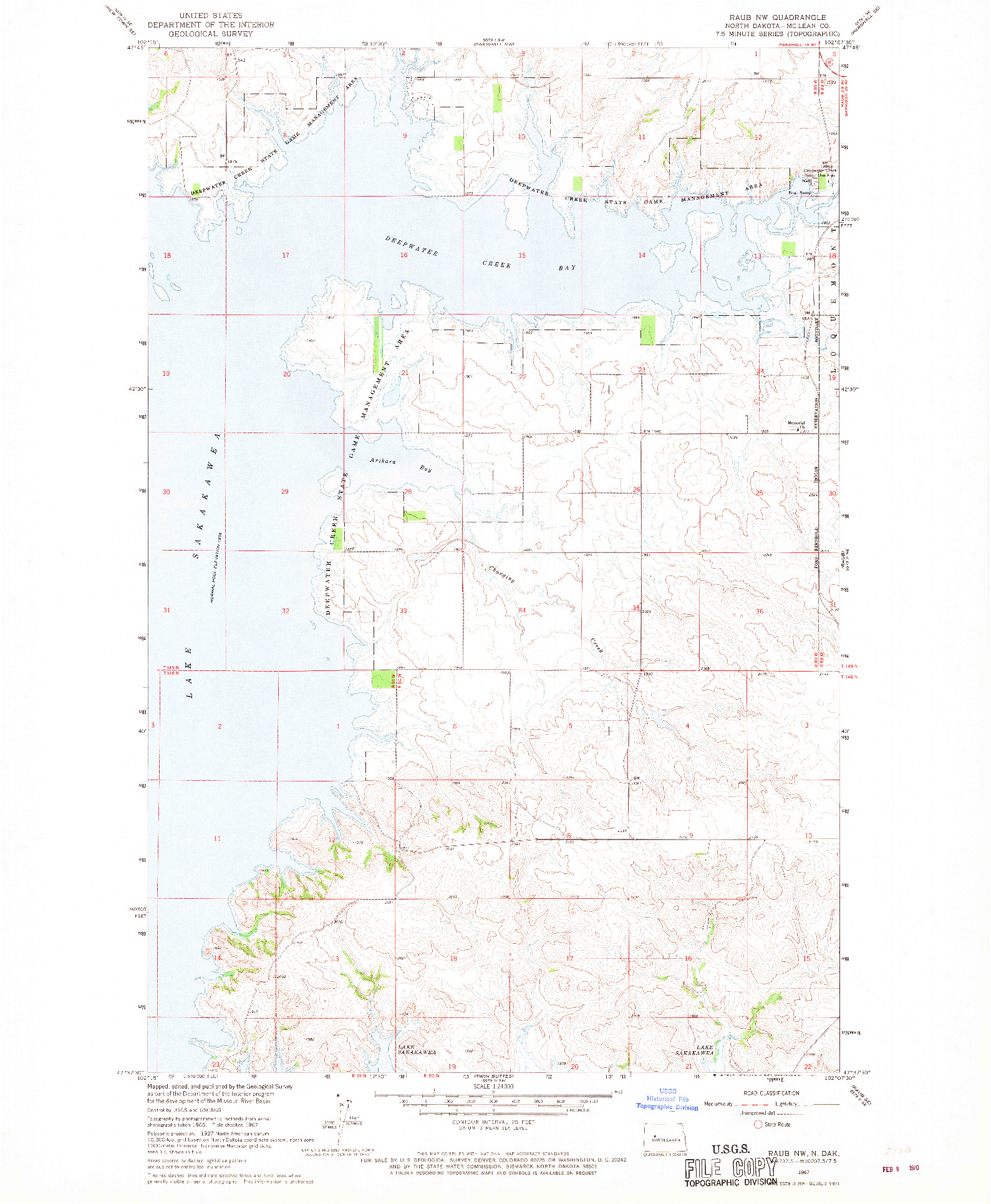 USGS 1:24000-SCALE QUADRANGLE FOR RAUB NW, ND 1967