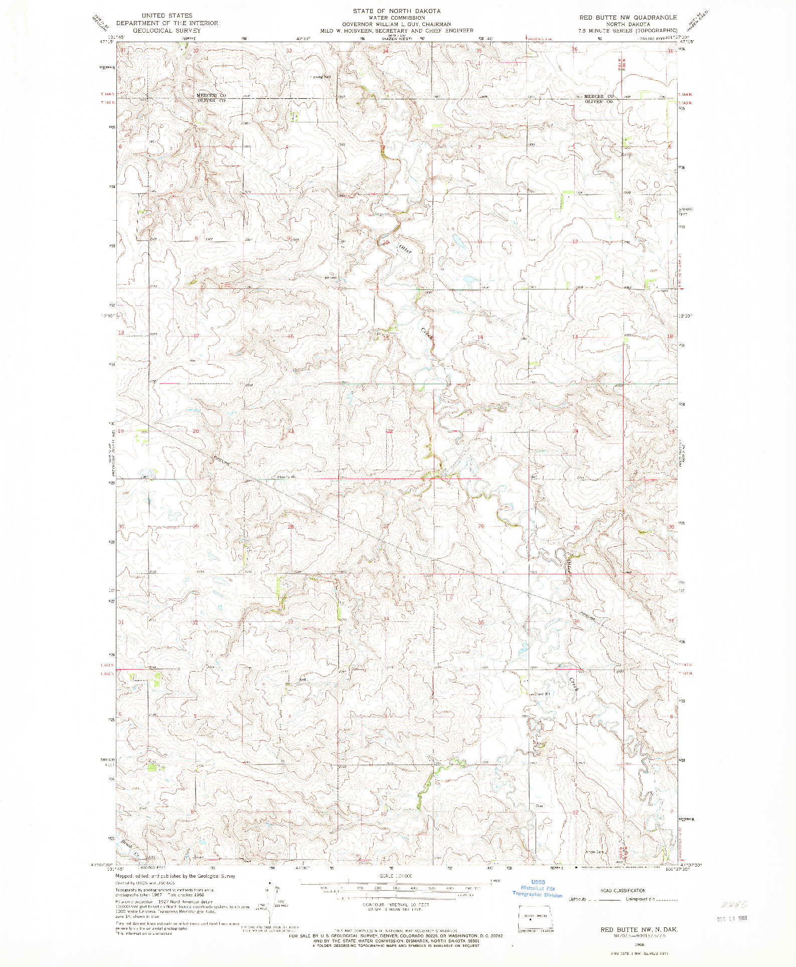 USGS 1:24000-SCALE QUADRANGLE FOR RED BUTTE NW, ND 1968