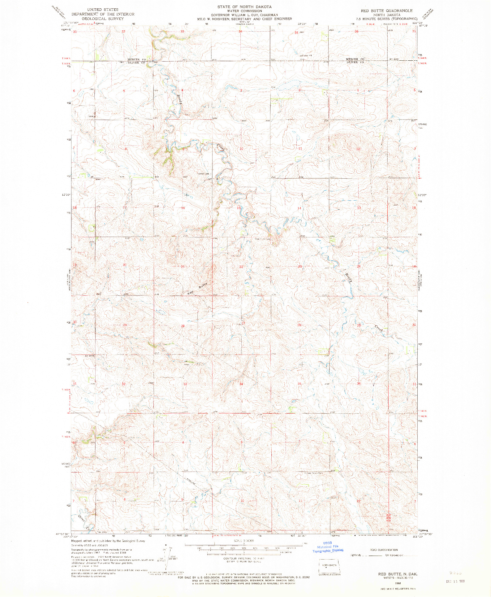 USGS 1:24000-SCALE QUADRANGLE FOR RED BUTTE, ND 1968