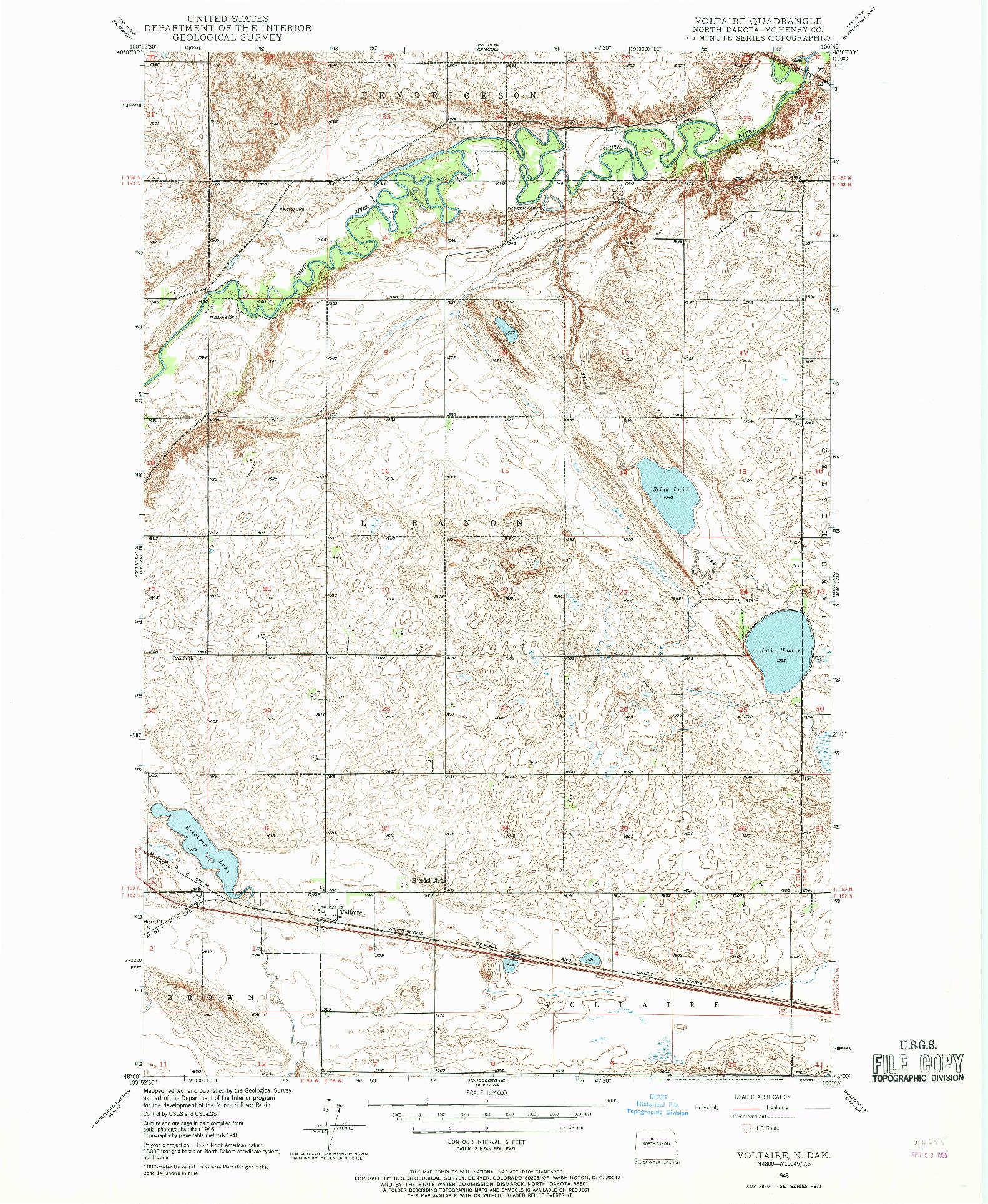 USGS 1:24000-SCALE QUADRANGLE FOR VOLTAIRE, ND 1948