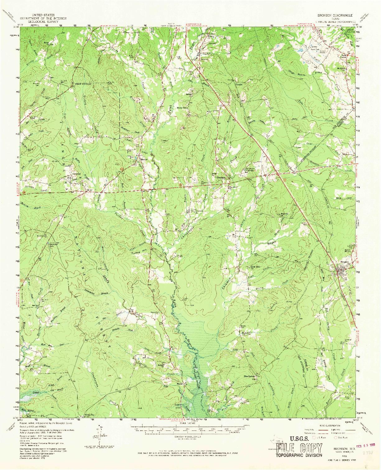 USGS 1:62500-SCALE QUADRANGLE FOR BRONSON, TX 1958